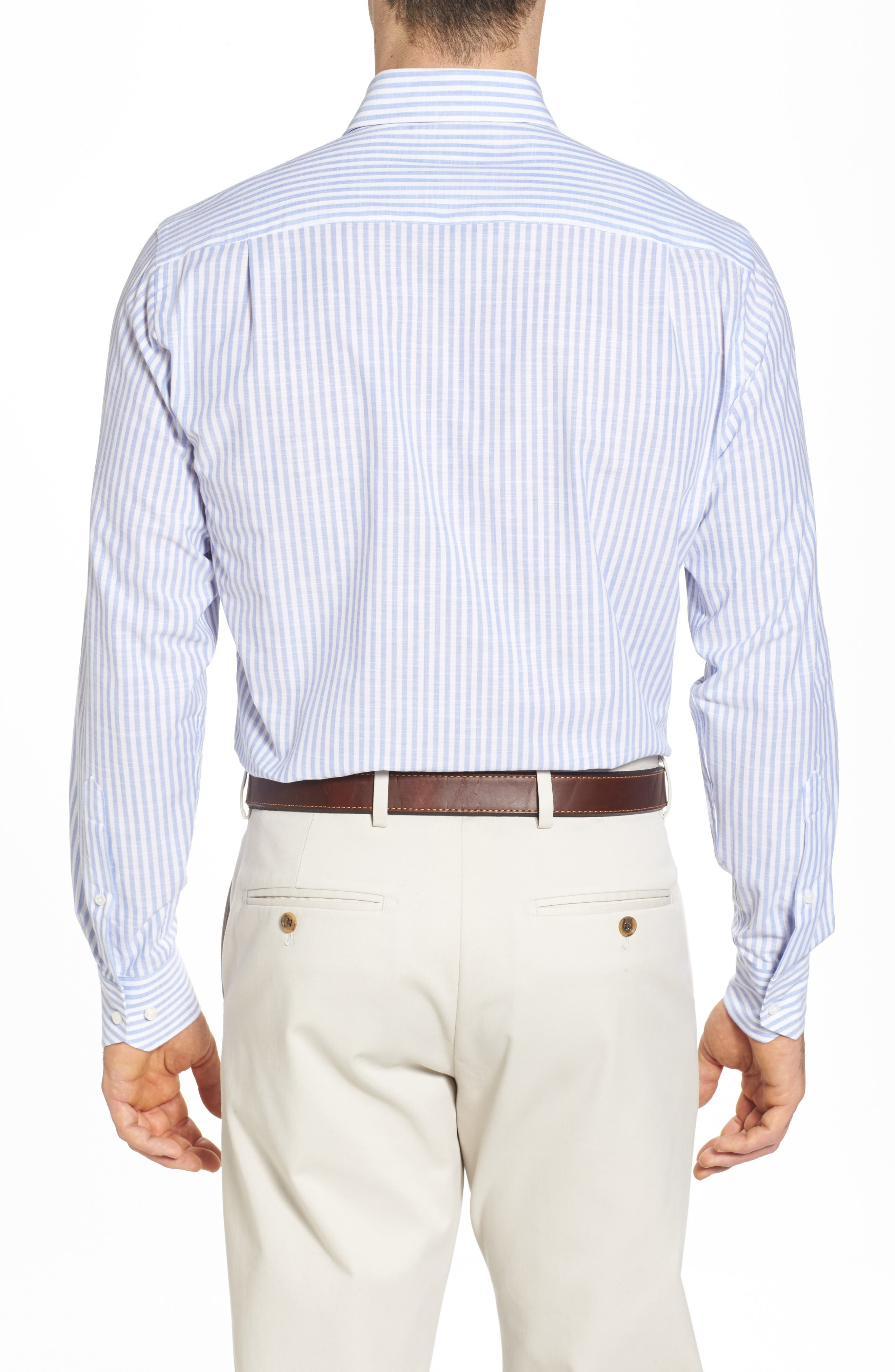 Summer Stripe Chambray Sport Shirt,                             Alternate thumbnail 2, color,                             433