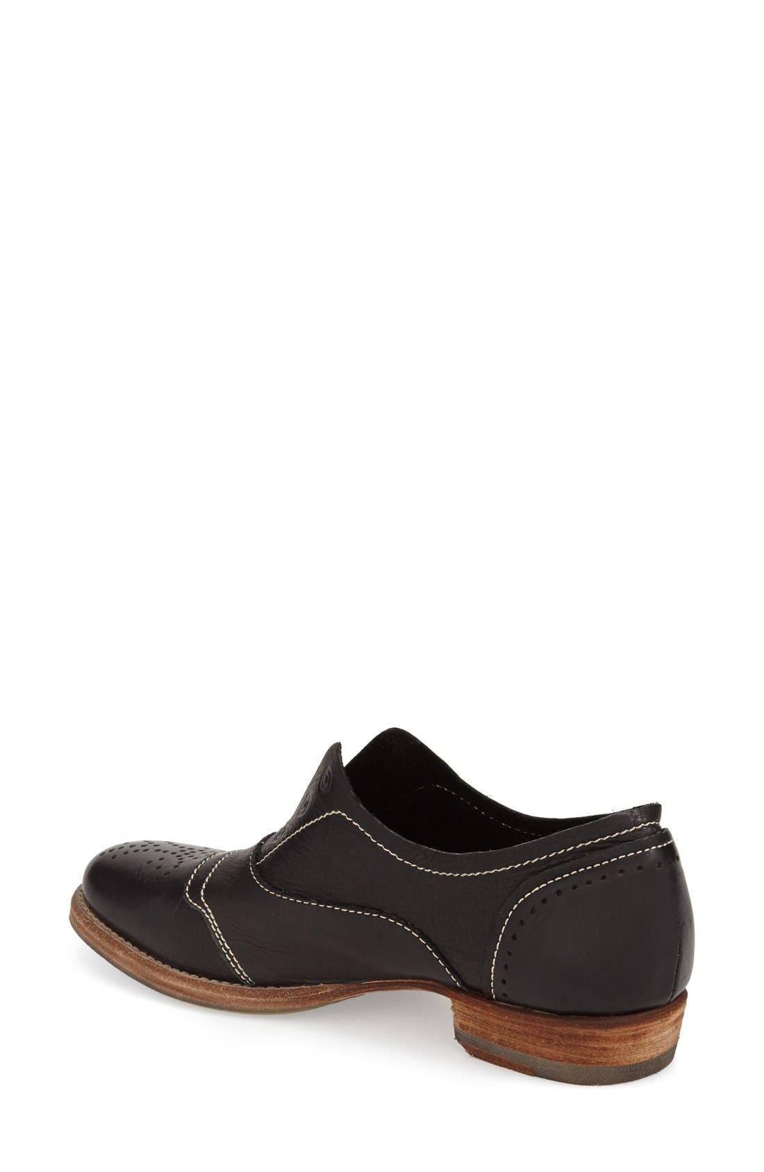 'HL55' Slip-On Oxford,                             Alternate thumbnail 2, color,                             BLACK LEATHER