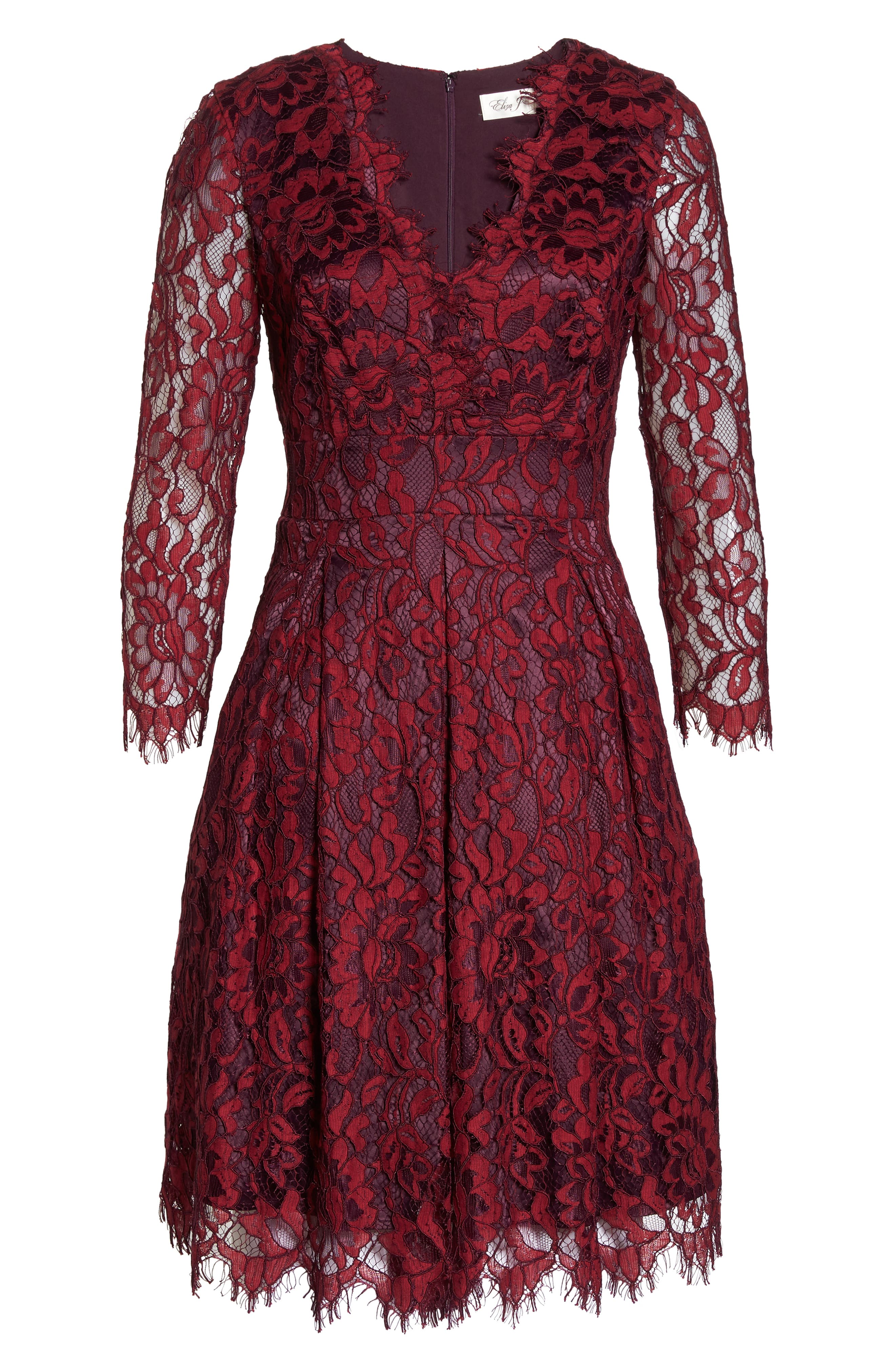 Lace V-Neck Fit & Flare Dress,                             Alternate thumbnail 7, color,                             RED