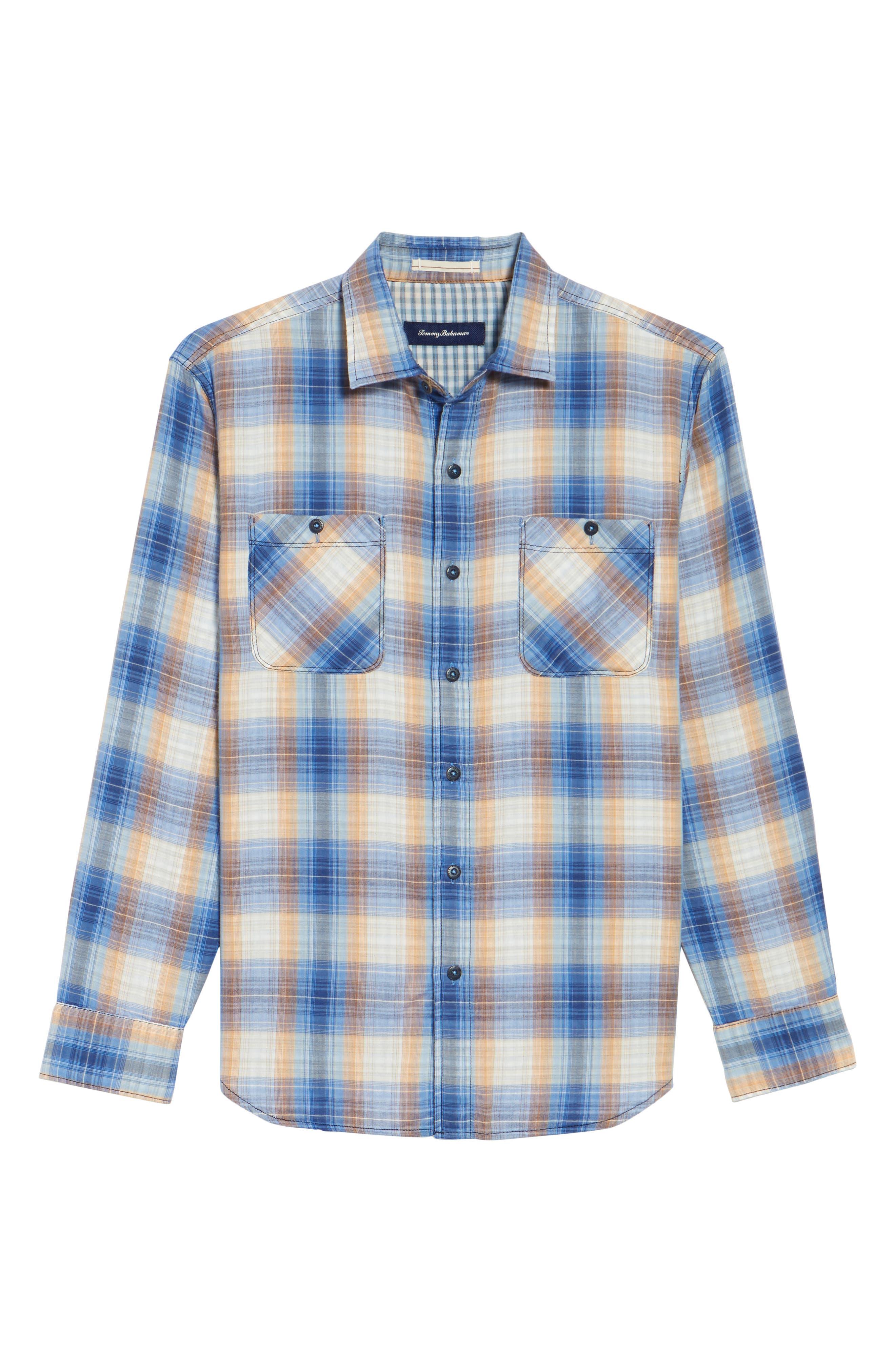 Duble' Ombré Standard Fit Plaid Sport Shirt,                             Alternate thumbnail 6, color,                             400