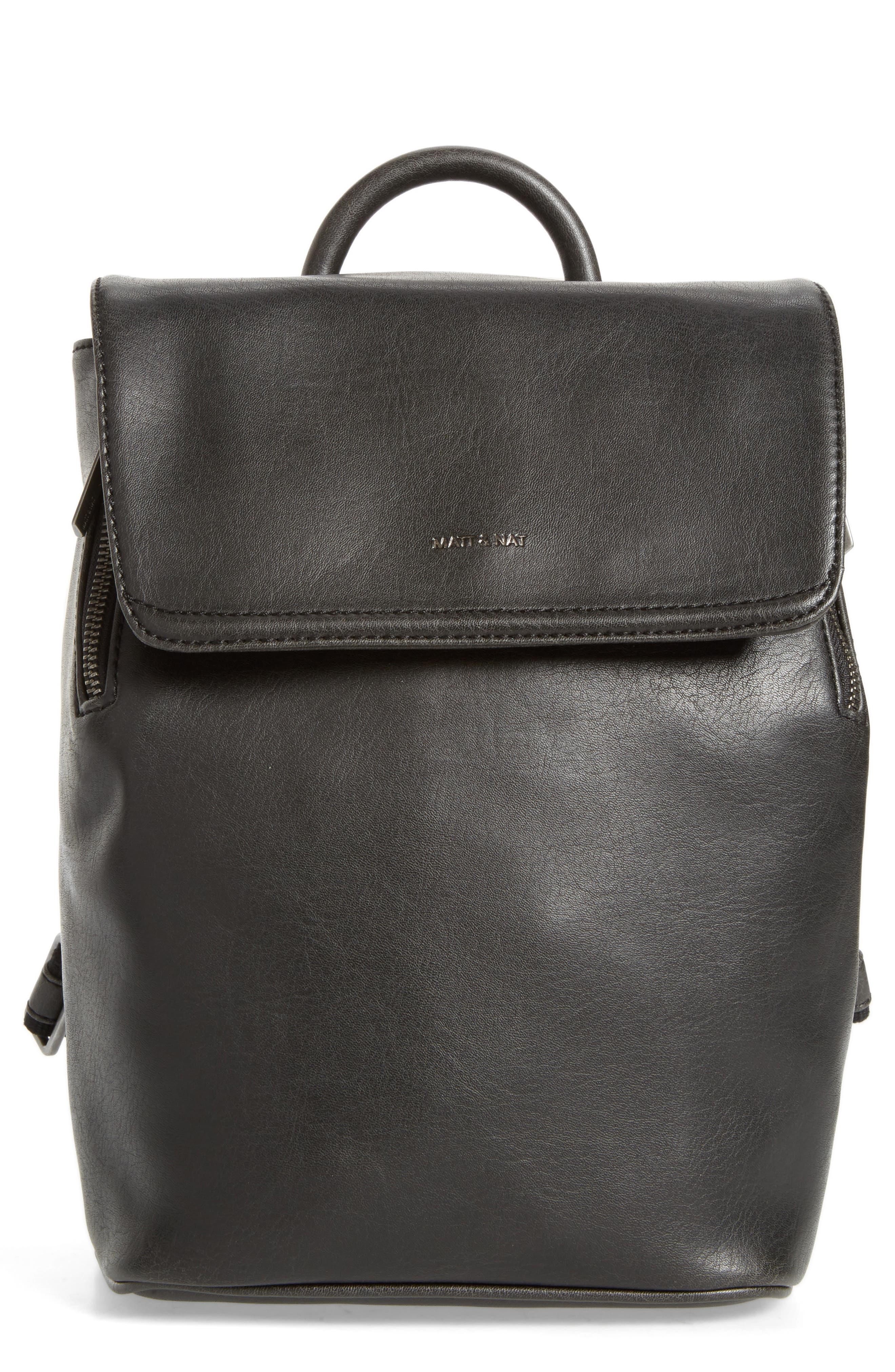 Mini Fabi Faux Leather Backpack,                             Main thumbnail 1, color,                             BLACK