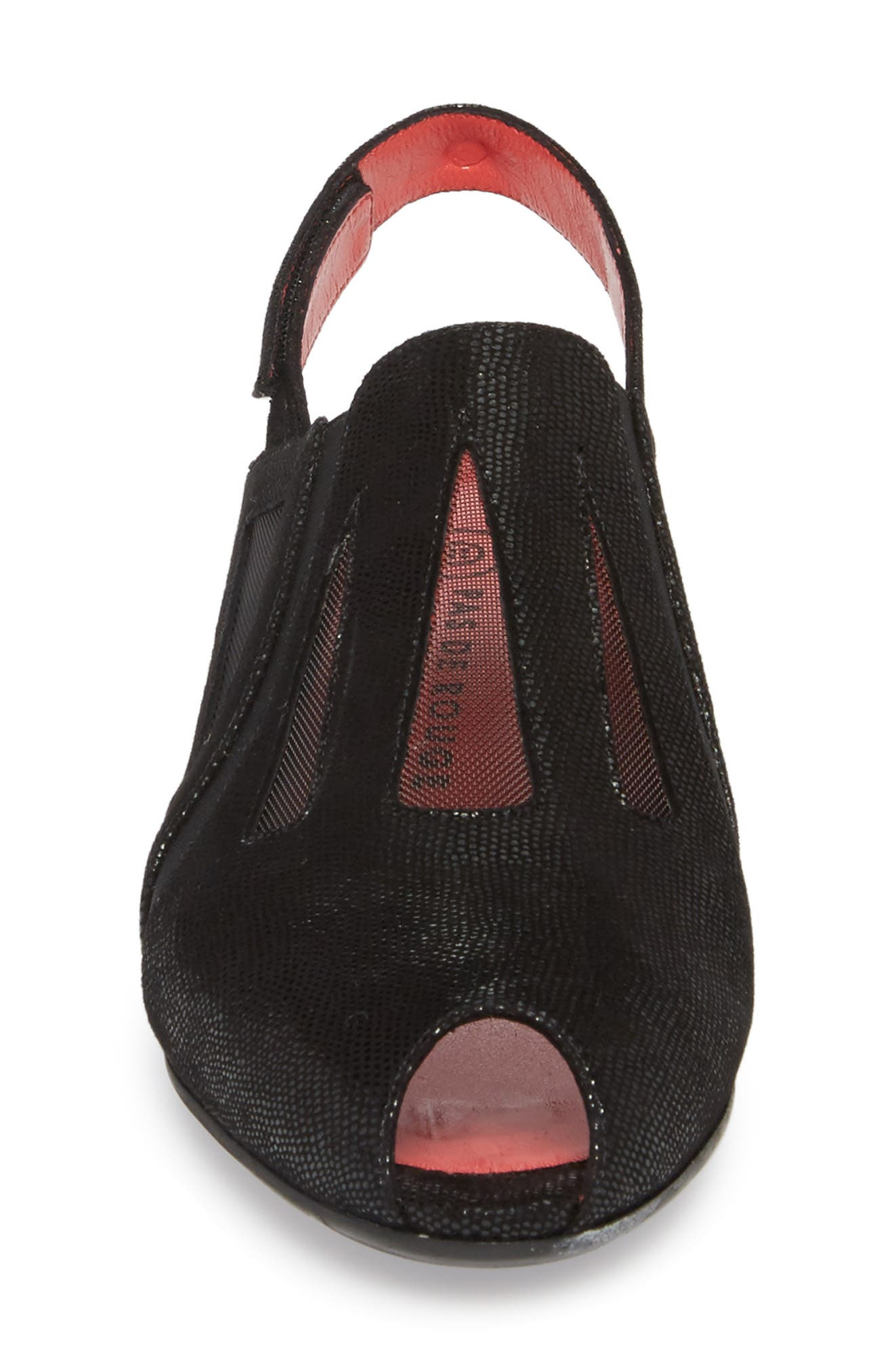 Franca Slingback Sandal,                             Alternate thumbnail 4, color,                             BLACK LIZARD SUEDE