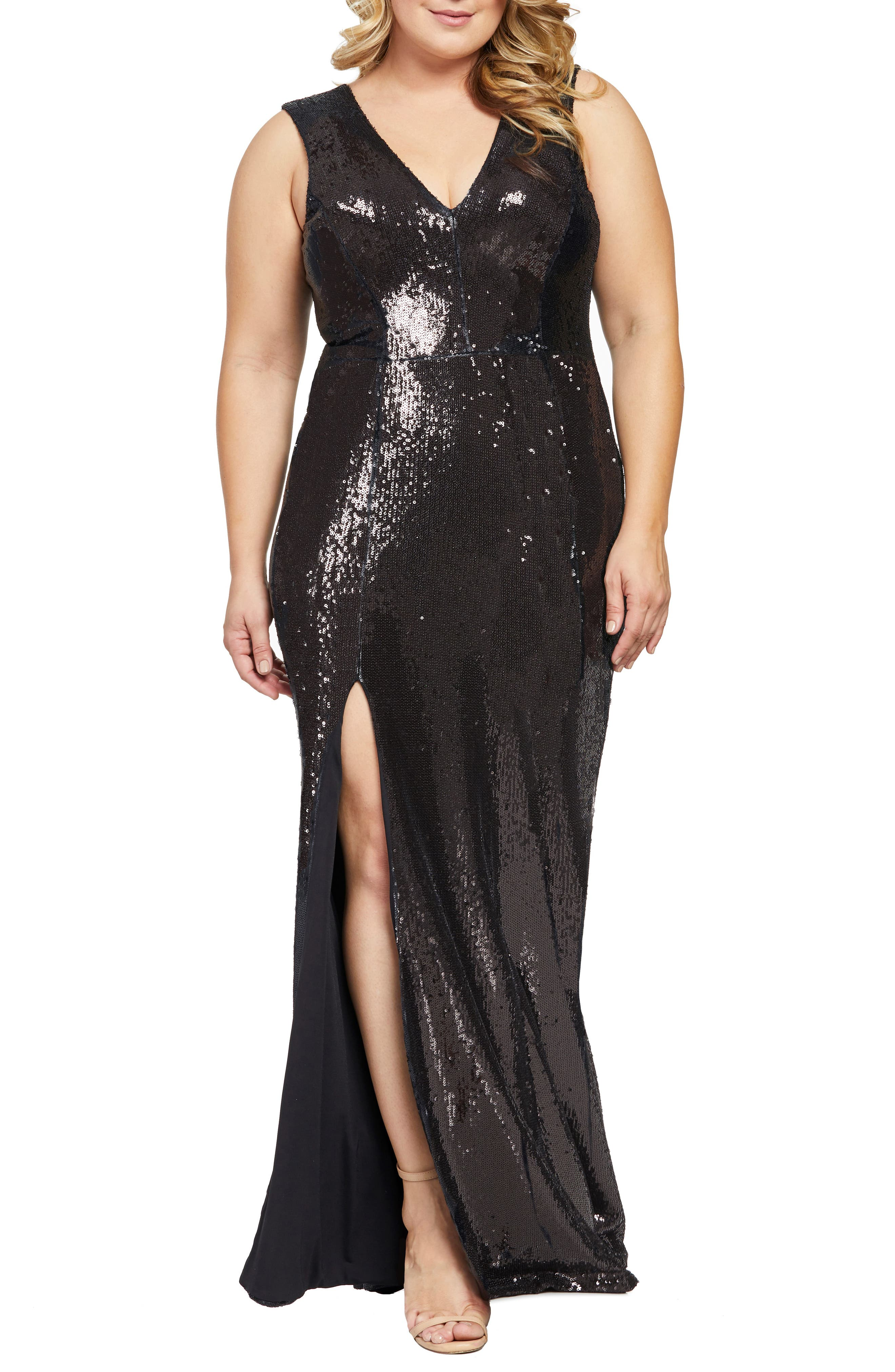 Plus Size Dress The Population Sandra Plunge Sequin Gown, Black