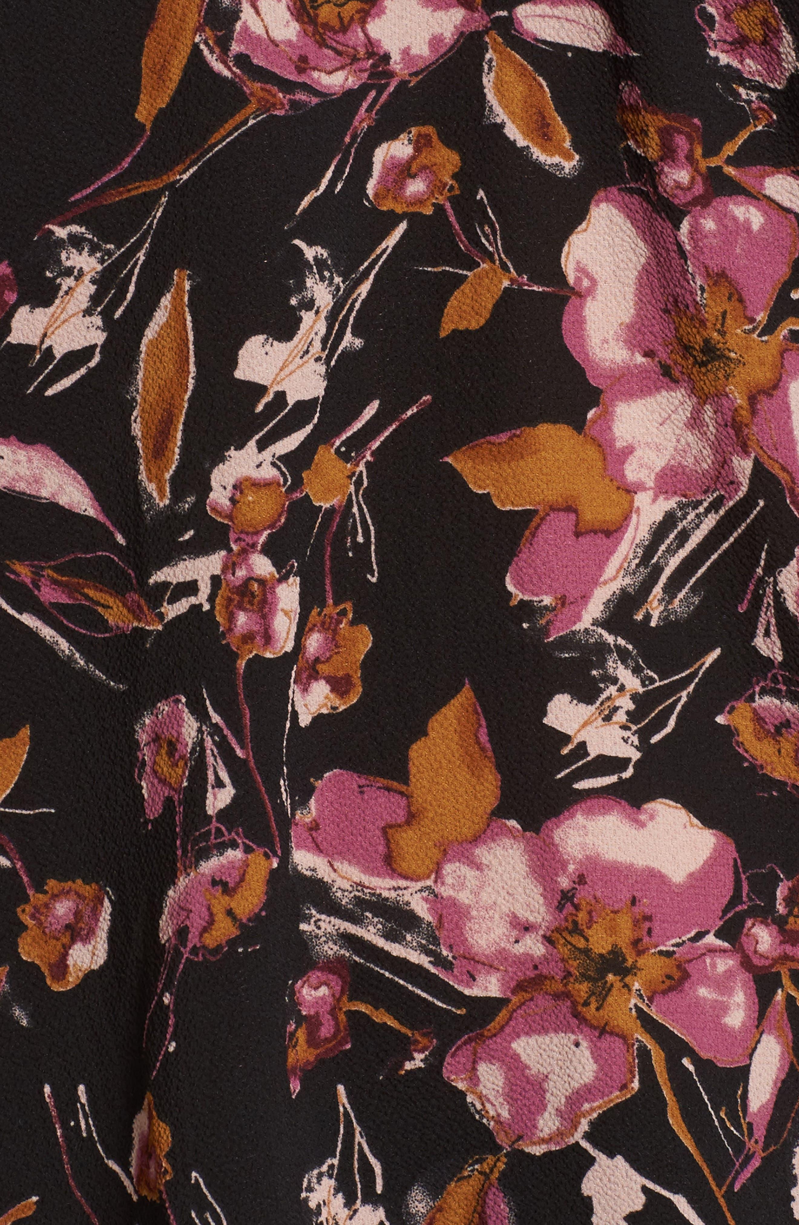 Ruffle Print Off the Shoulder Blouse,                             Alternate thumbnail 5, color,                             001