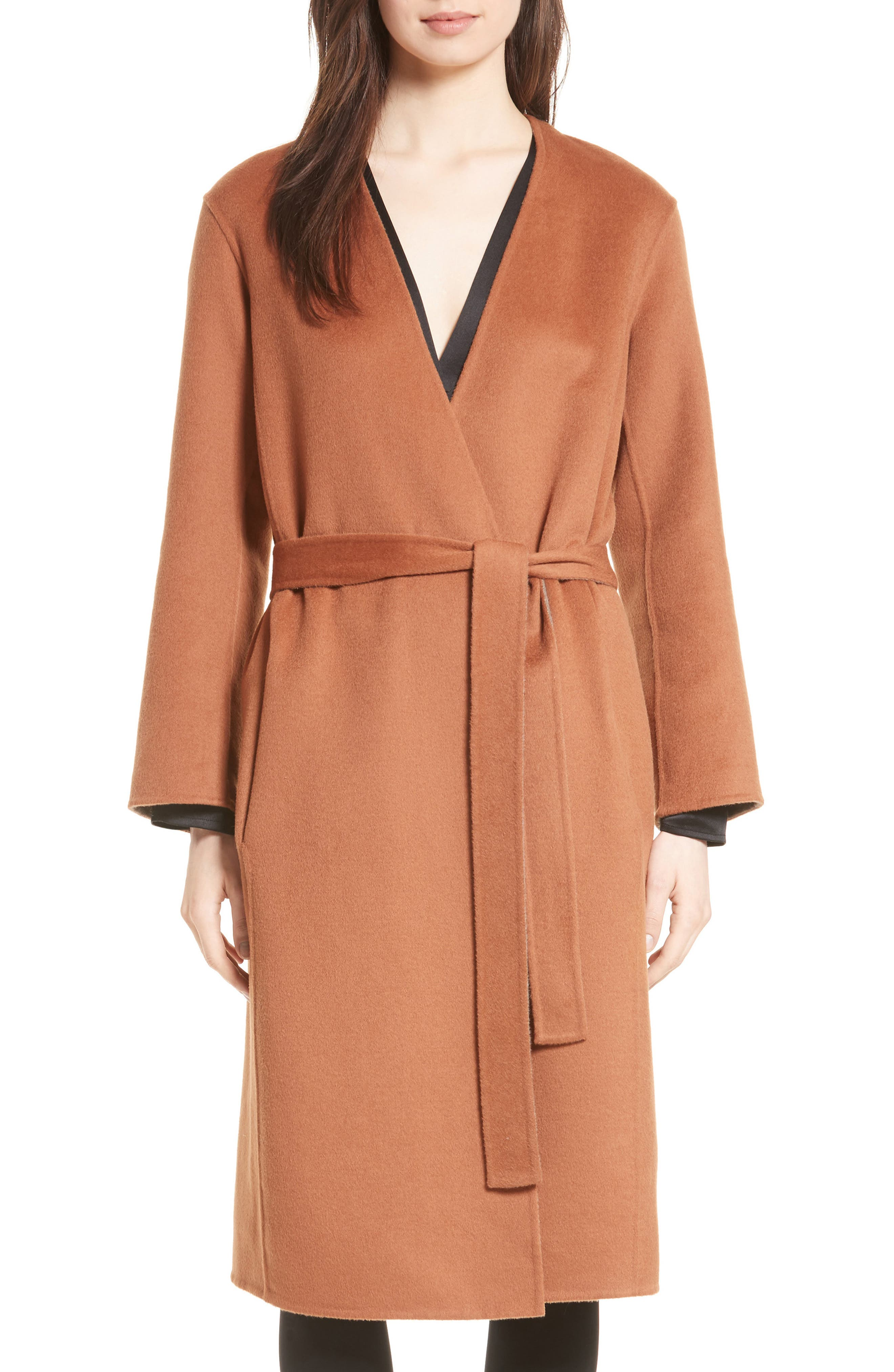 Reversible Wool & Cashmere Belted Coat,                             Main thumbnail 2, color,