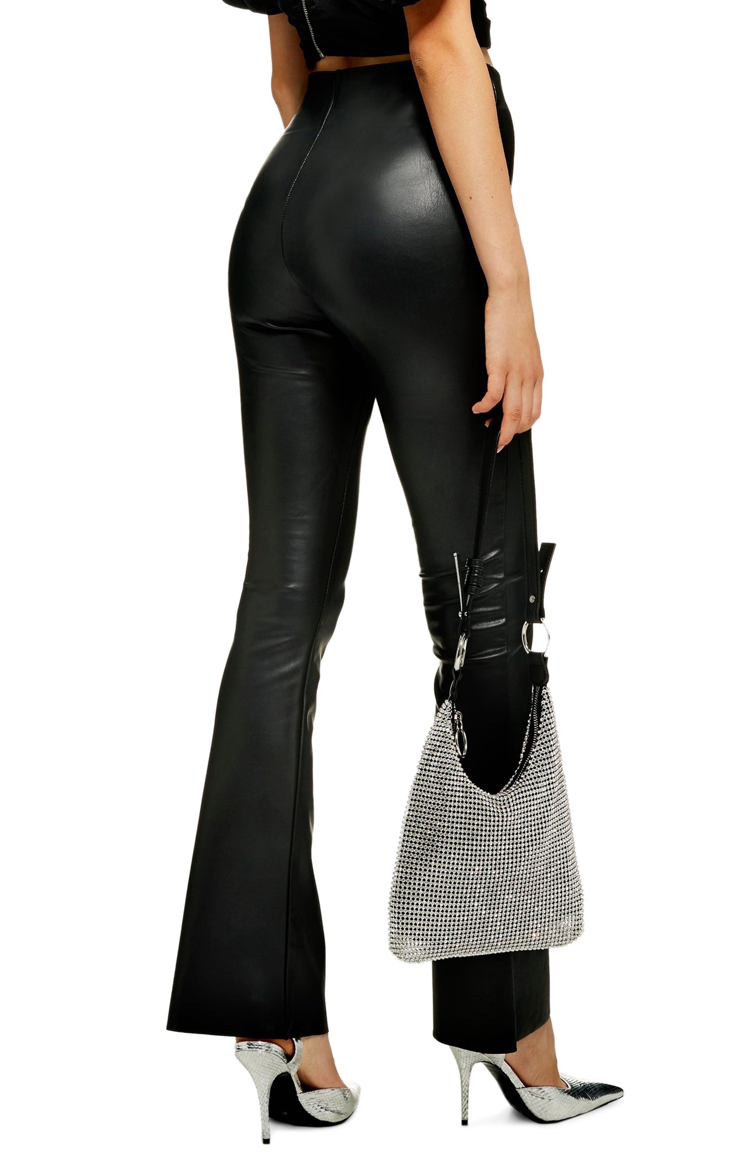 Faux Leather Flare Pants,                             Alternate thumbnail 2, color,                             001