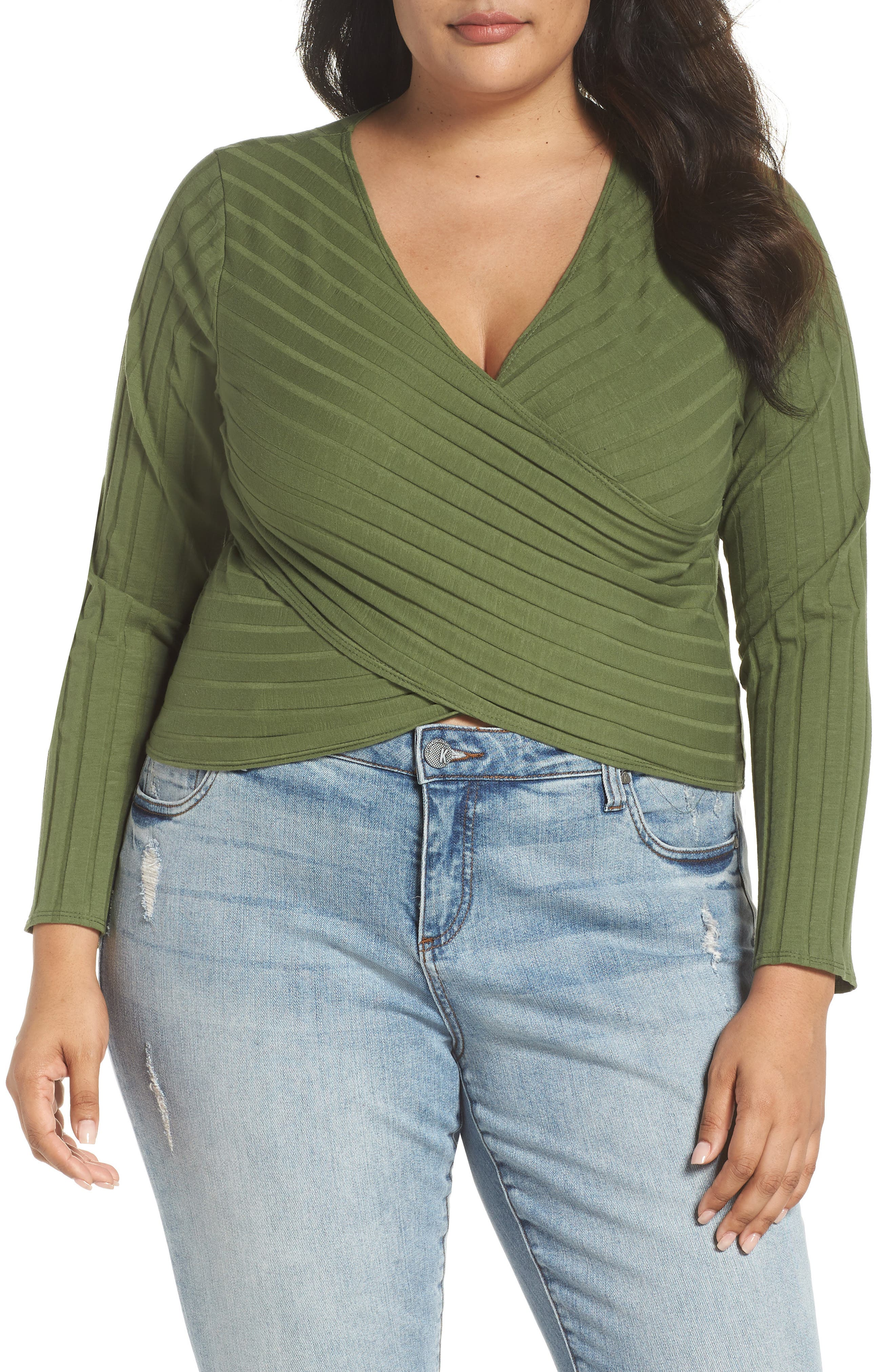 Rib Knit Wrap Top,                         Main,                         color, OLIVE AMBER