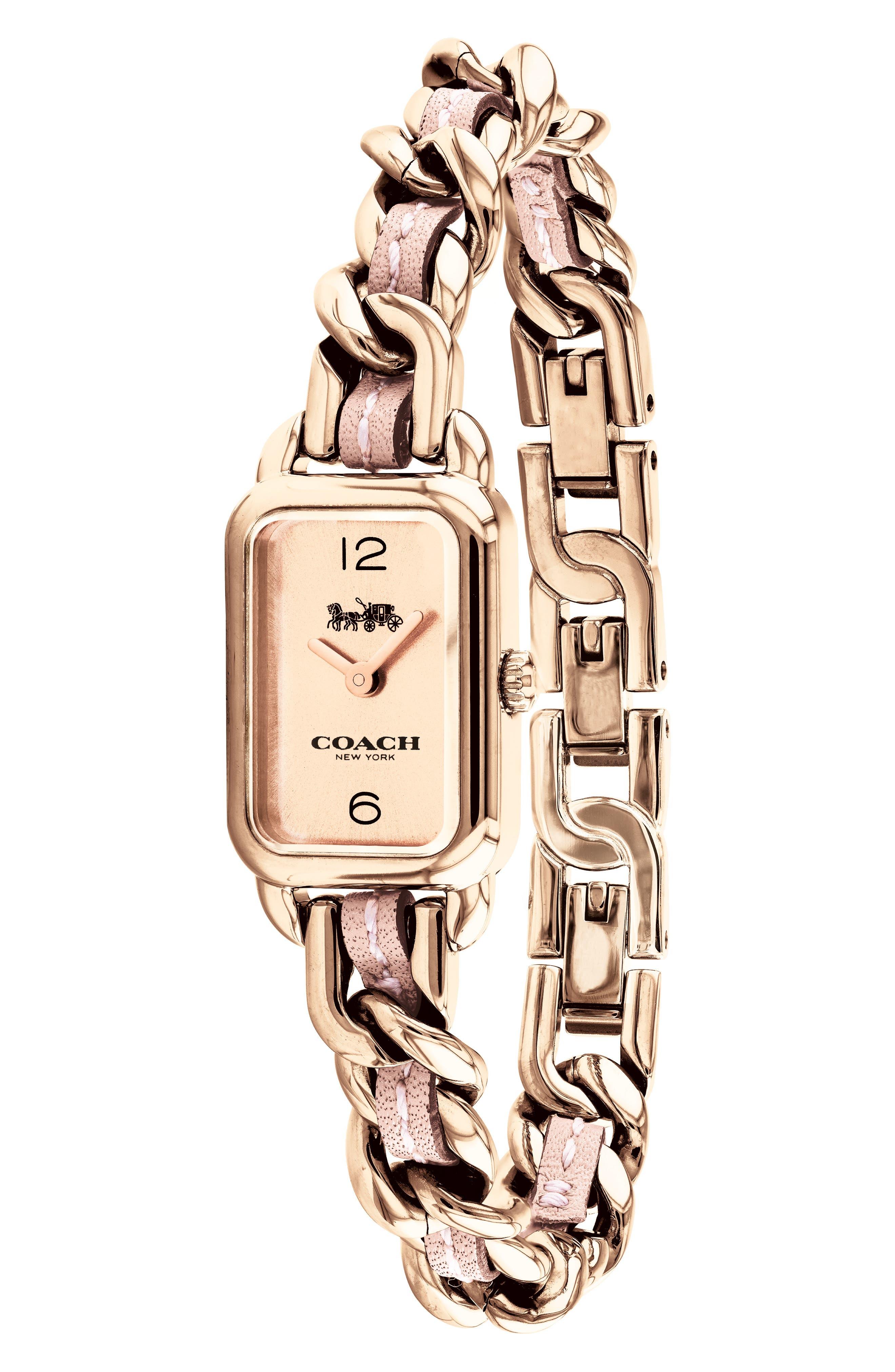 Ludlow Leather Bracelet Watch, 17mm,                             Alternate thumbnail 3, color,                             ROSE GOLD