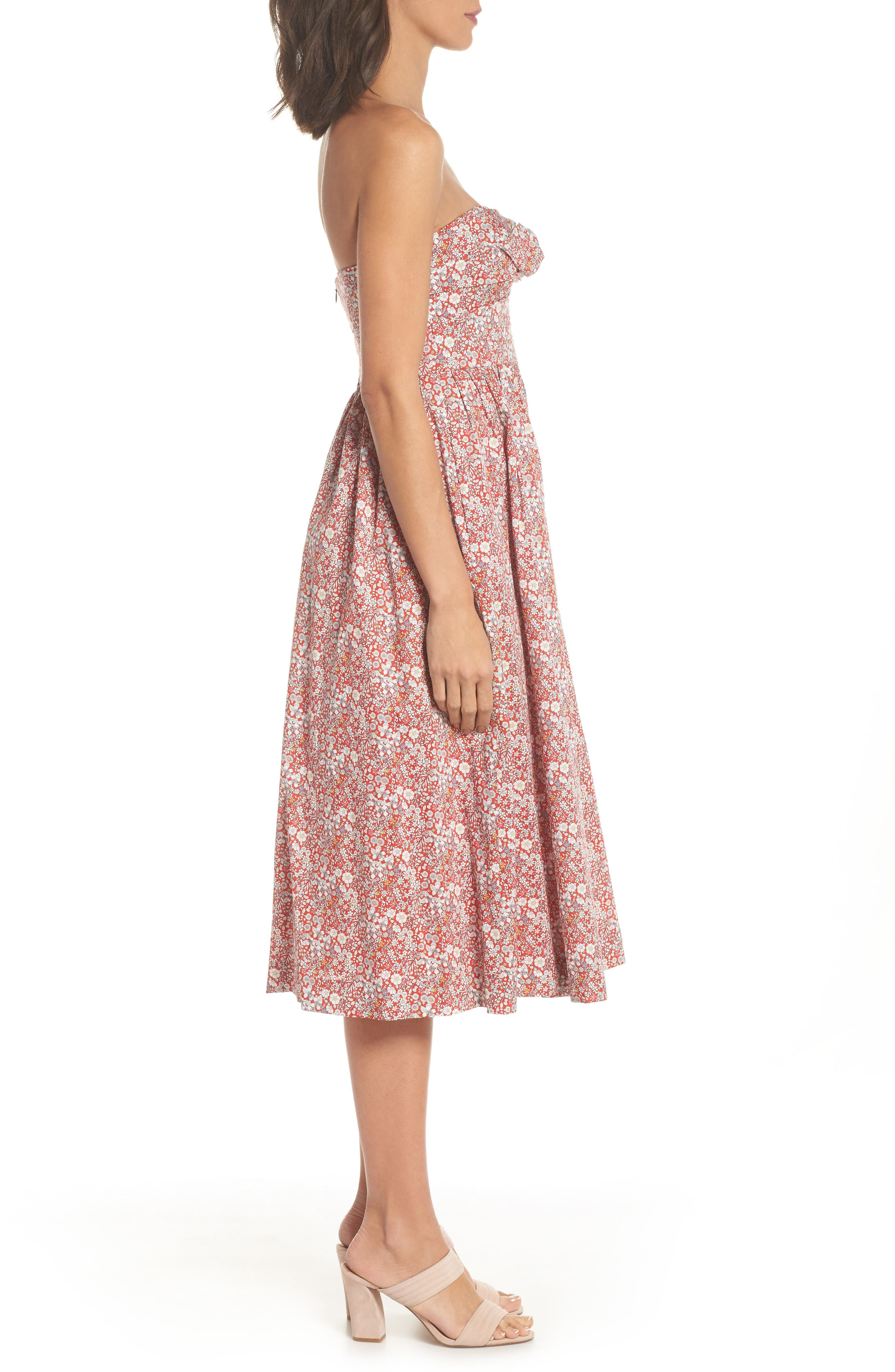 Liberty Tie Front Strapless Dress,                             Alternate thumbnail 3, color,                             600