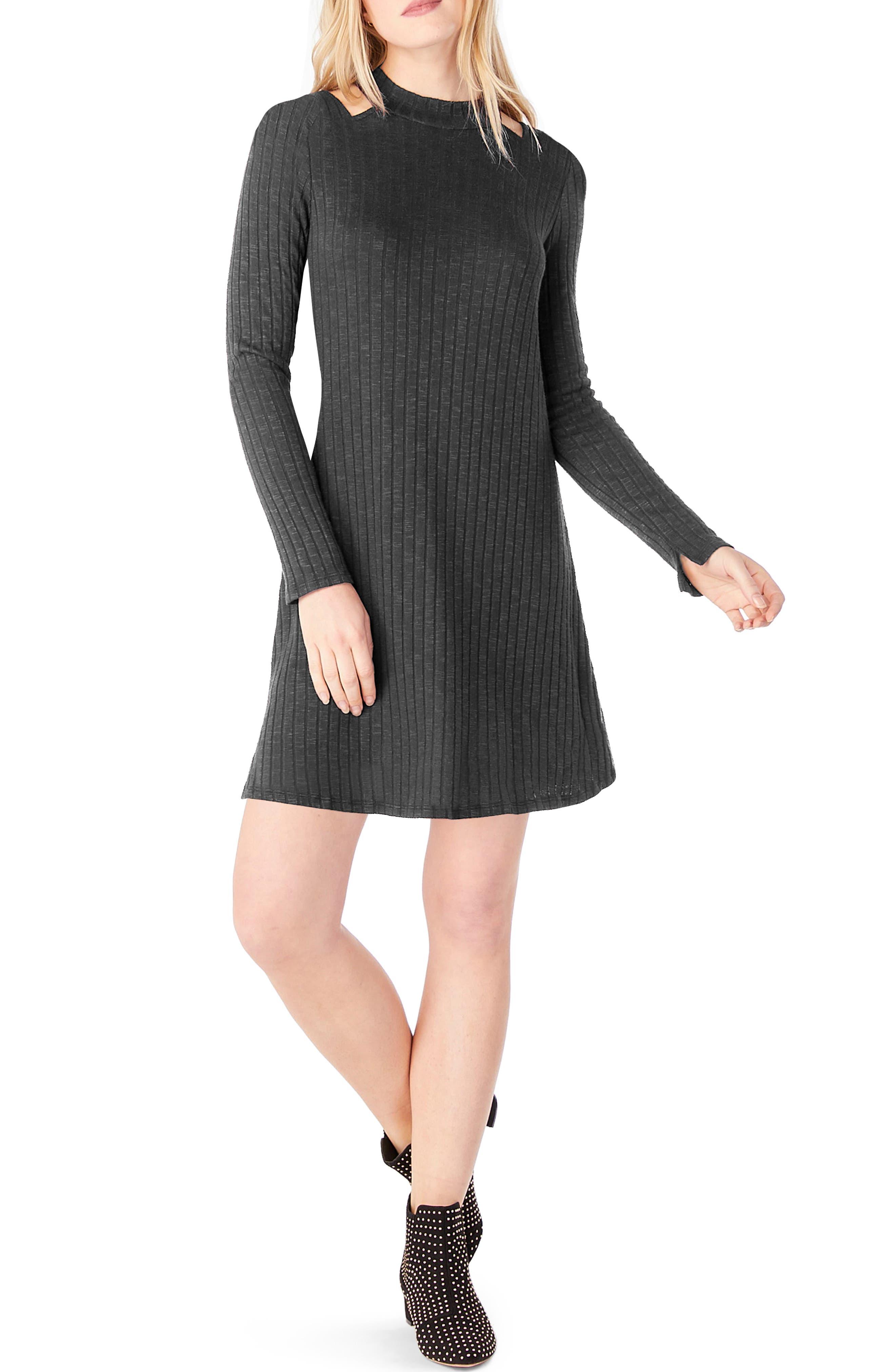 Cold Shoulder Mock Neck Shift Dress,                         Main,                         color, 050