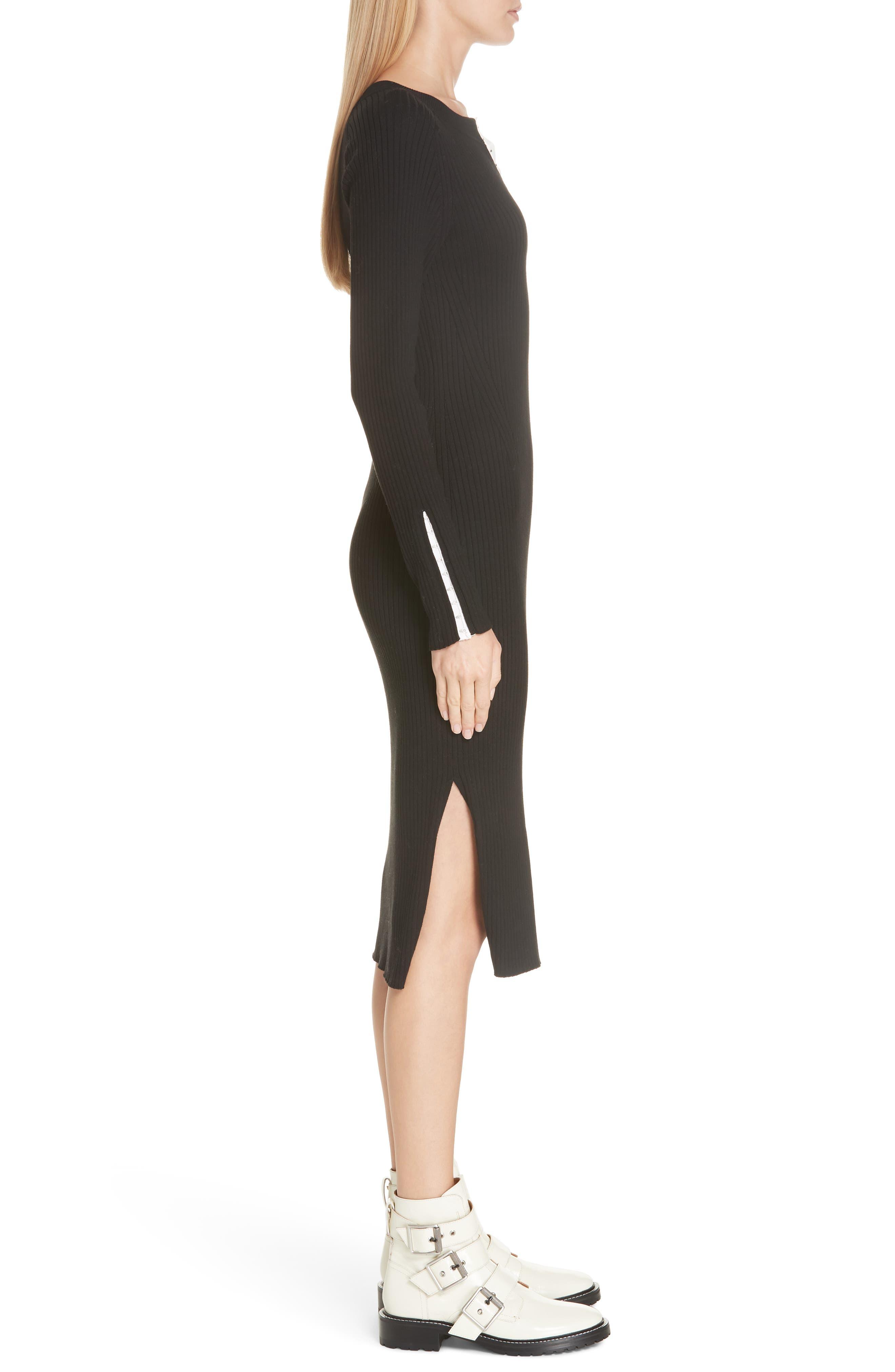 RAG & BONE,                             Brynn Rib Knit Dress,                             Alternate thumbnail 3, color,                             BLACK