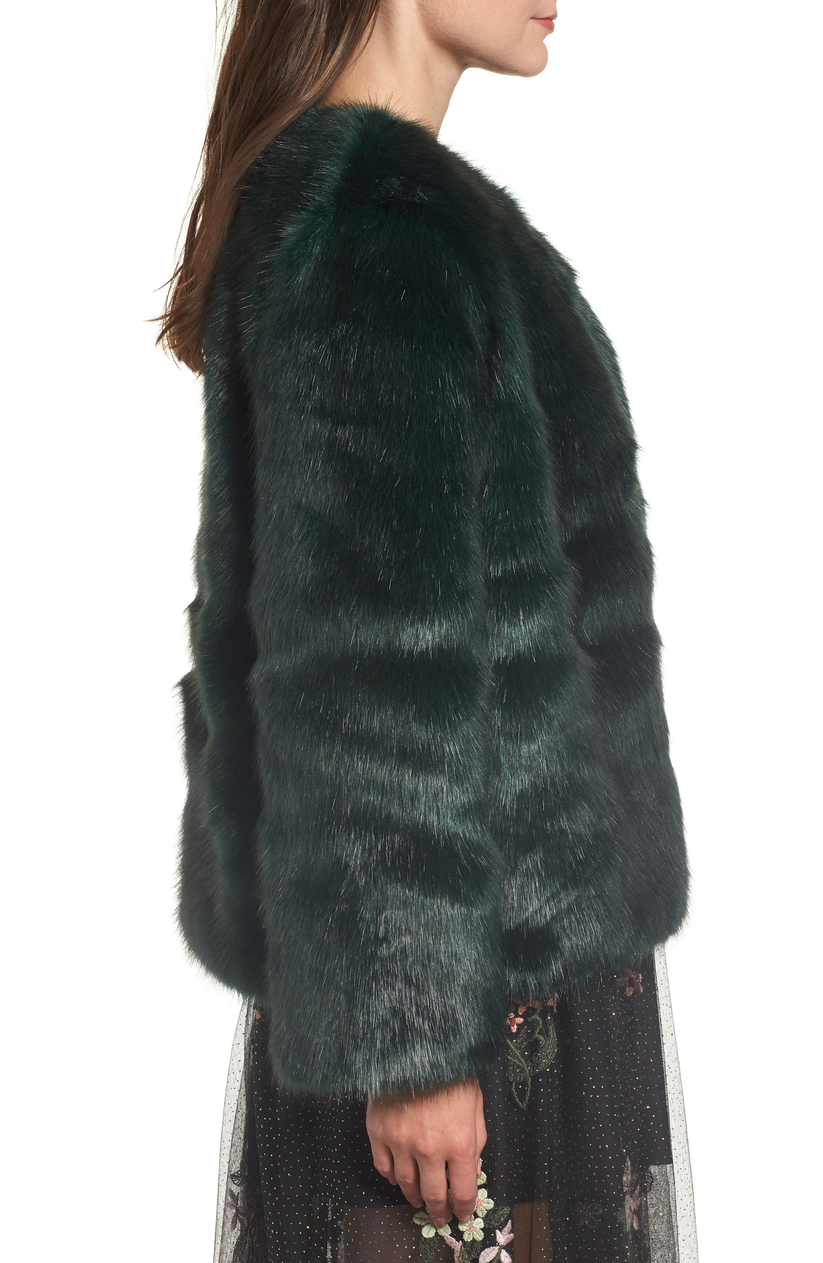 Faux Fur Jacket,                             Alternate thumbnail 3, color,                             GREEN