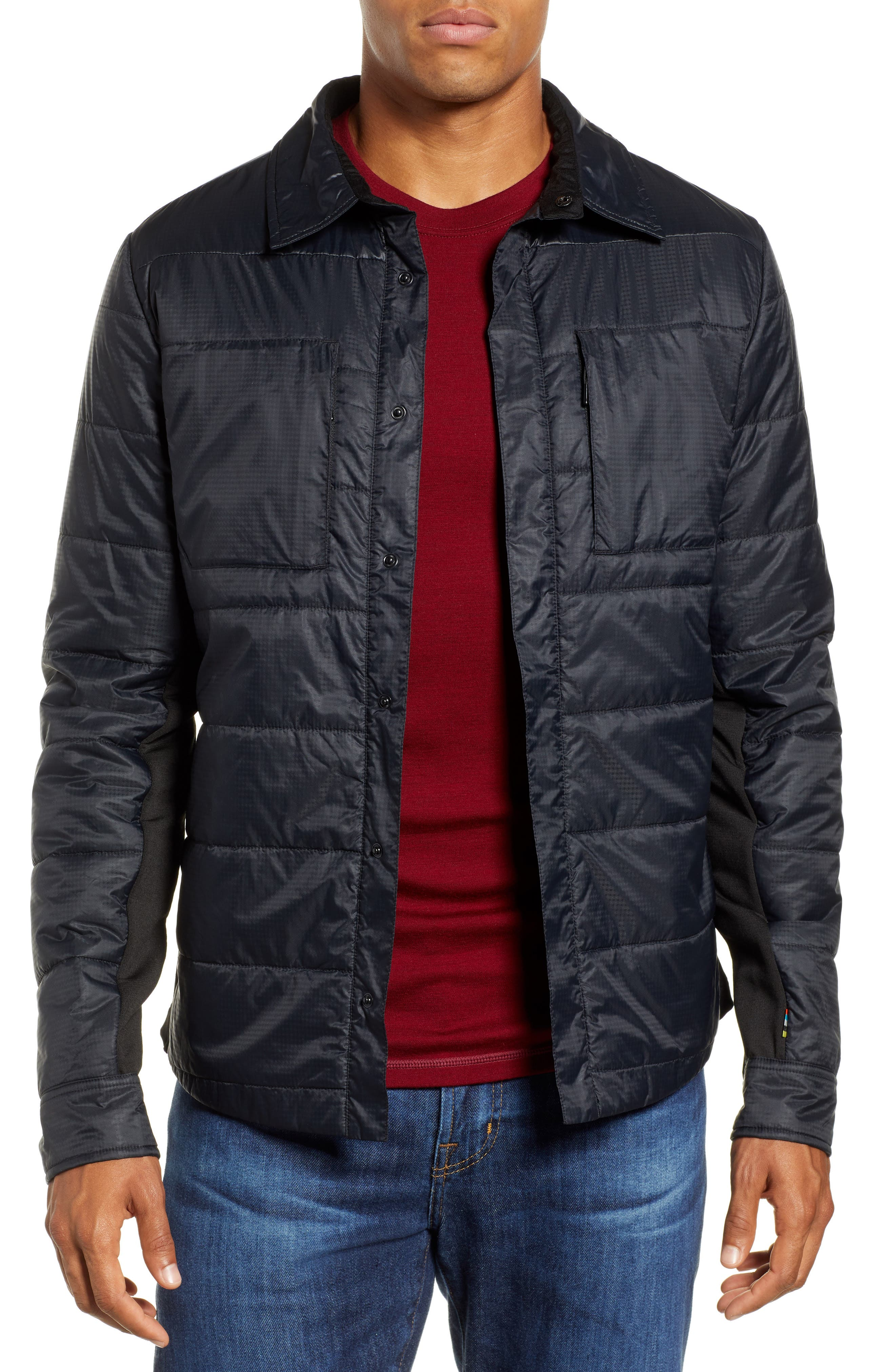 SmartLoft 60 Shirt Jacket,                         Main,                         color, BLACK