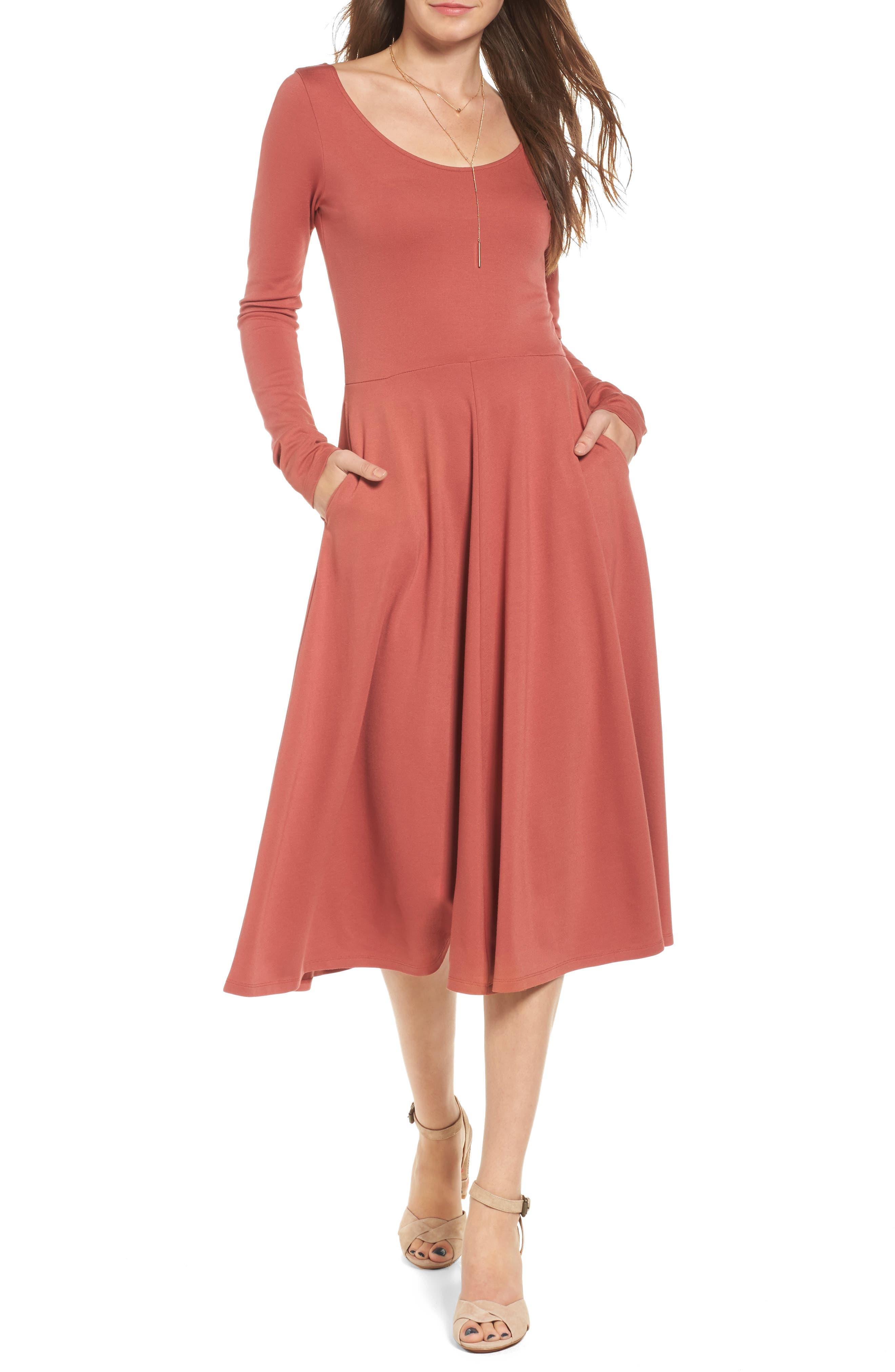 Long Sleeve Midi Dress,                             Main thumbnail 1, color,                             221