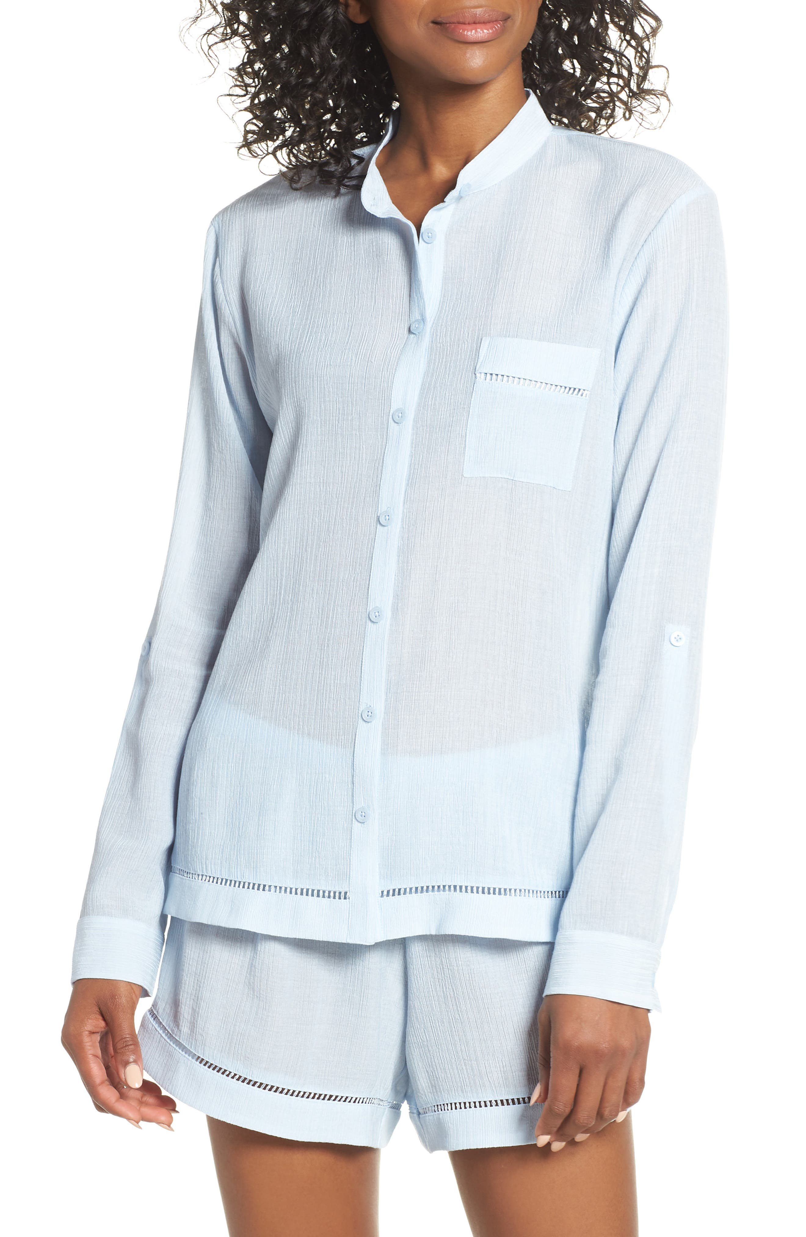 Nordstrom Lingerie Crinkle Short Pajamas, Blue