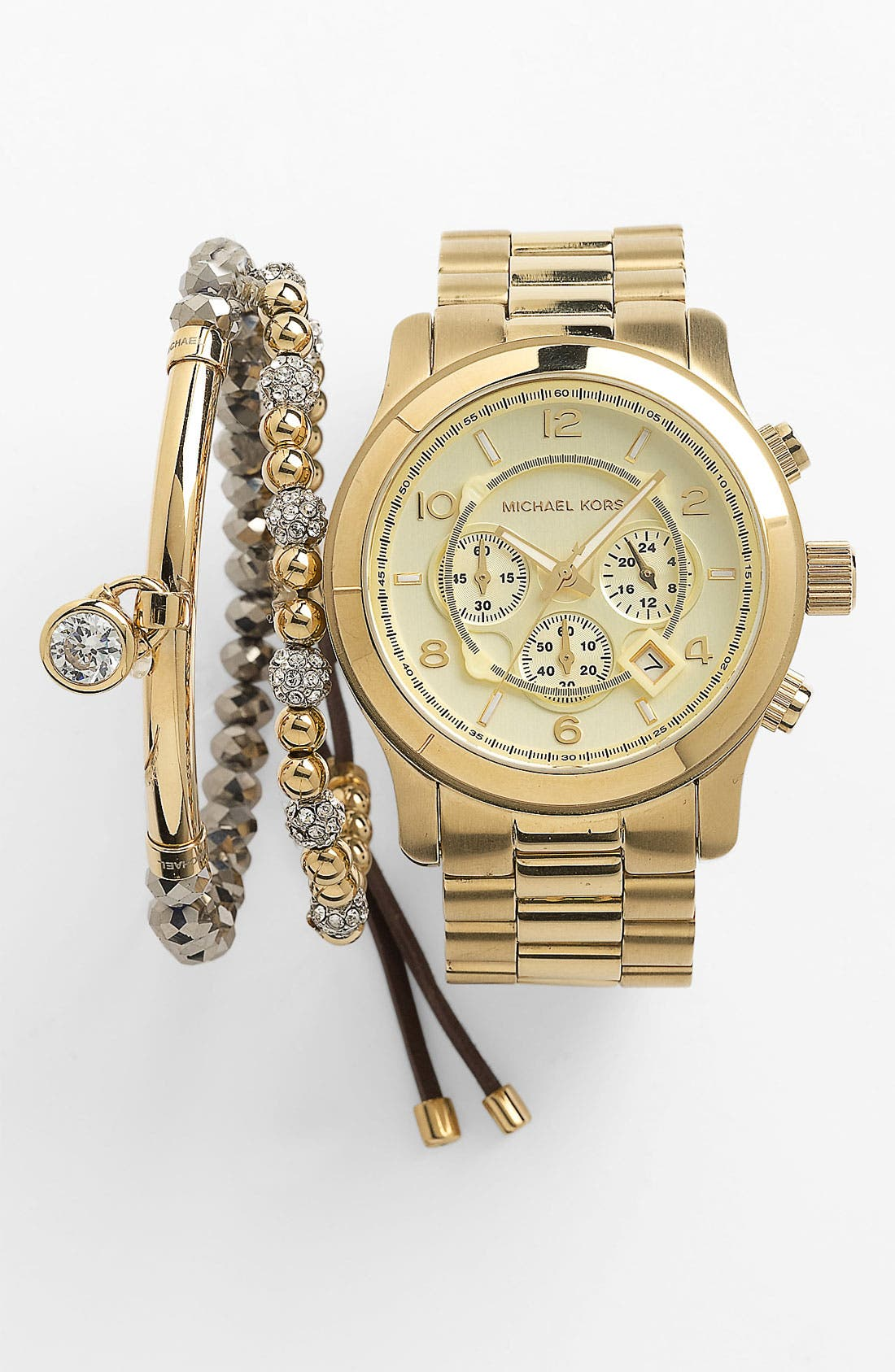 MICHAEL KORS,                             'Large Runway' Chronograph Bracelet Watch, 45mm,                             Alternate thumbnail 6, color,                             GOLD