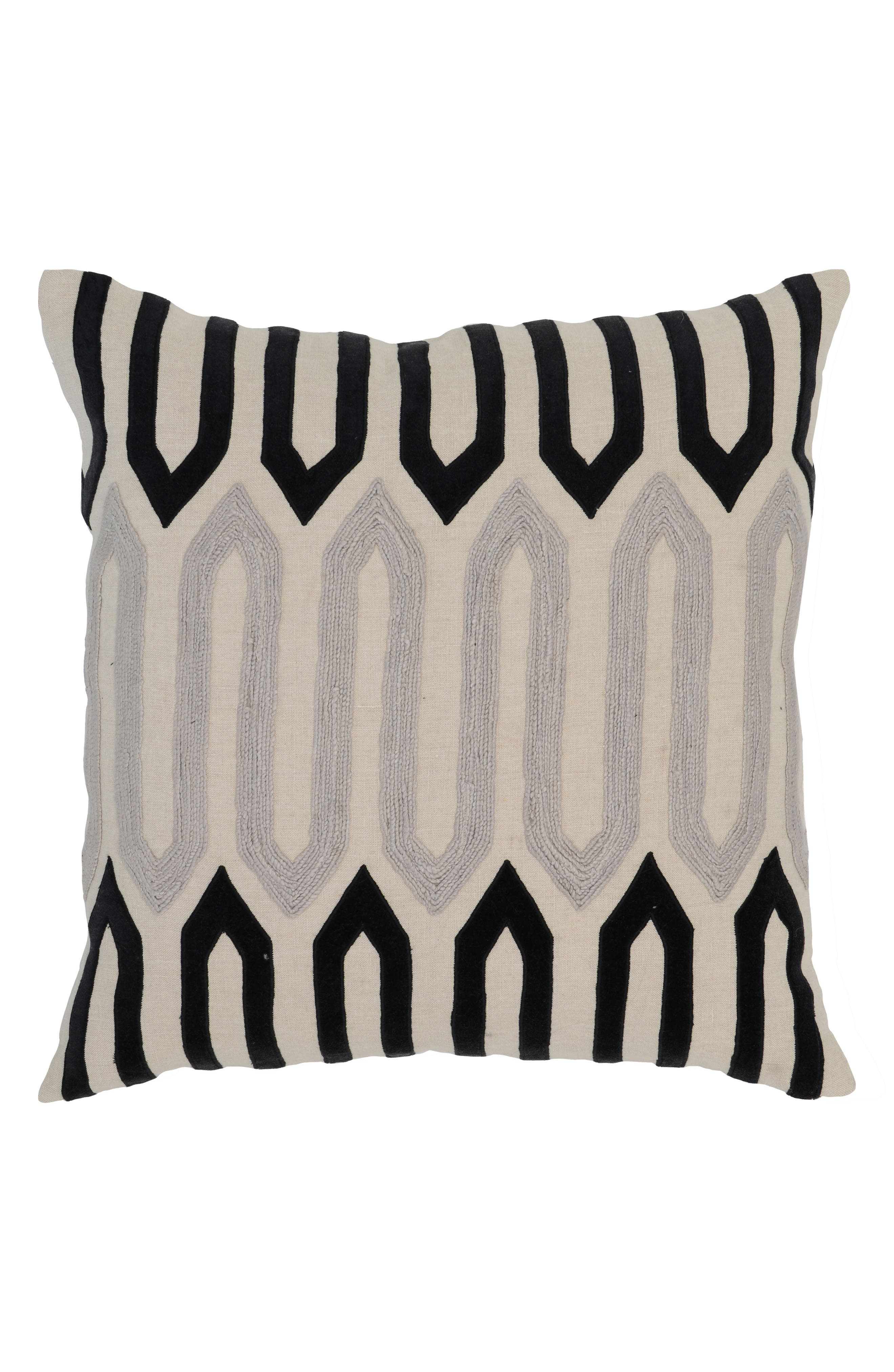 Greer Accent Pillow,                             Main thumbnail 1, color,                             IVORY/ ONYX
