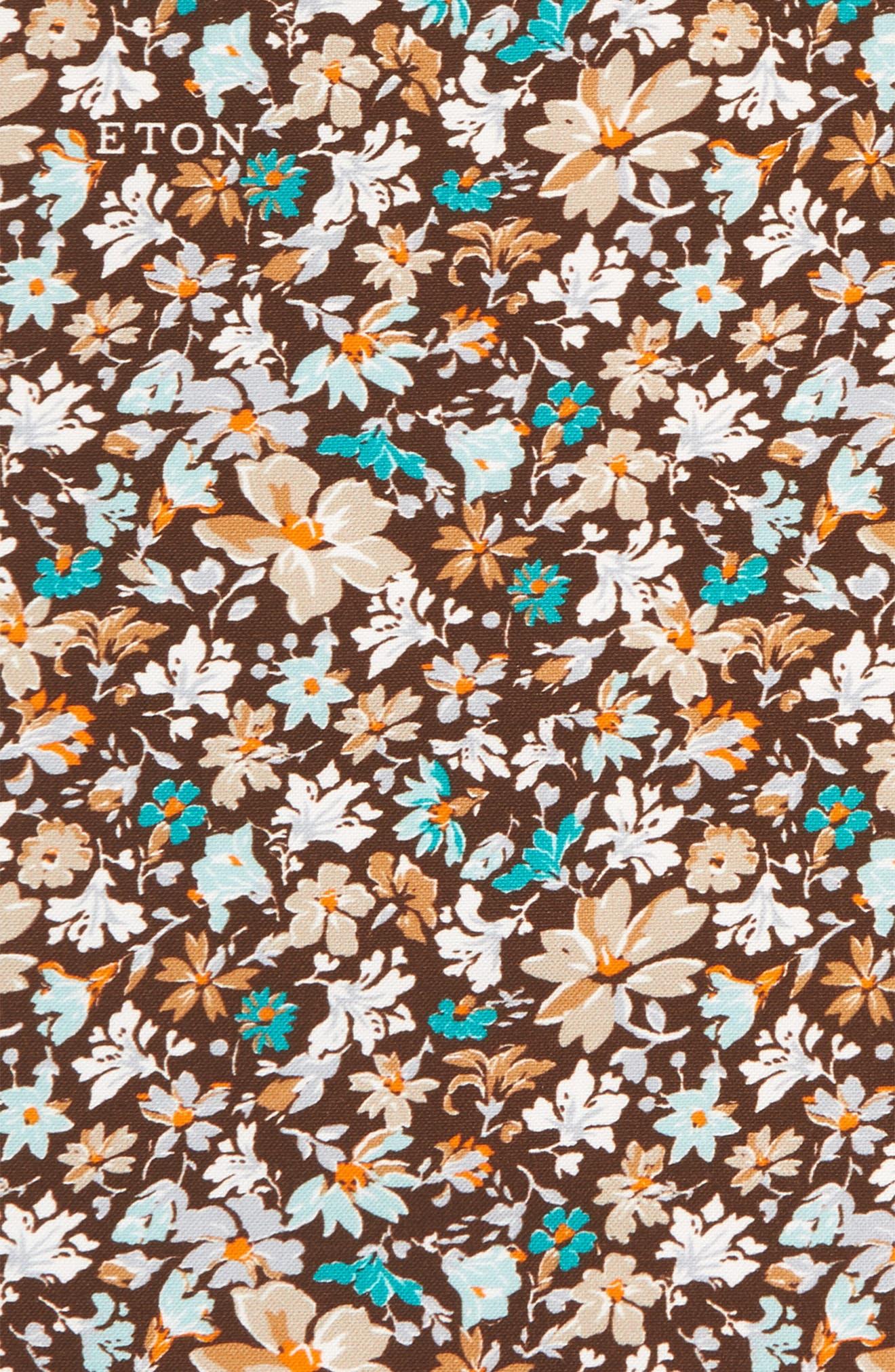 Floral Cotton & Silk Pocket Square,                             Alternate thumbnail 3, color,                             BROWN