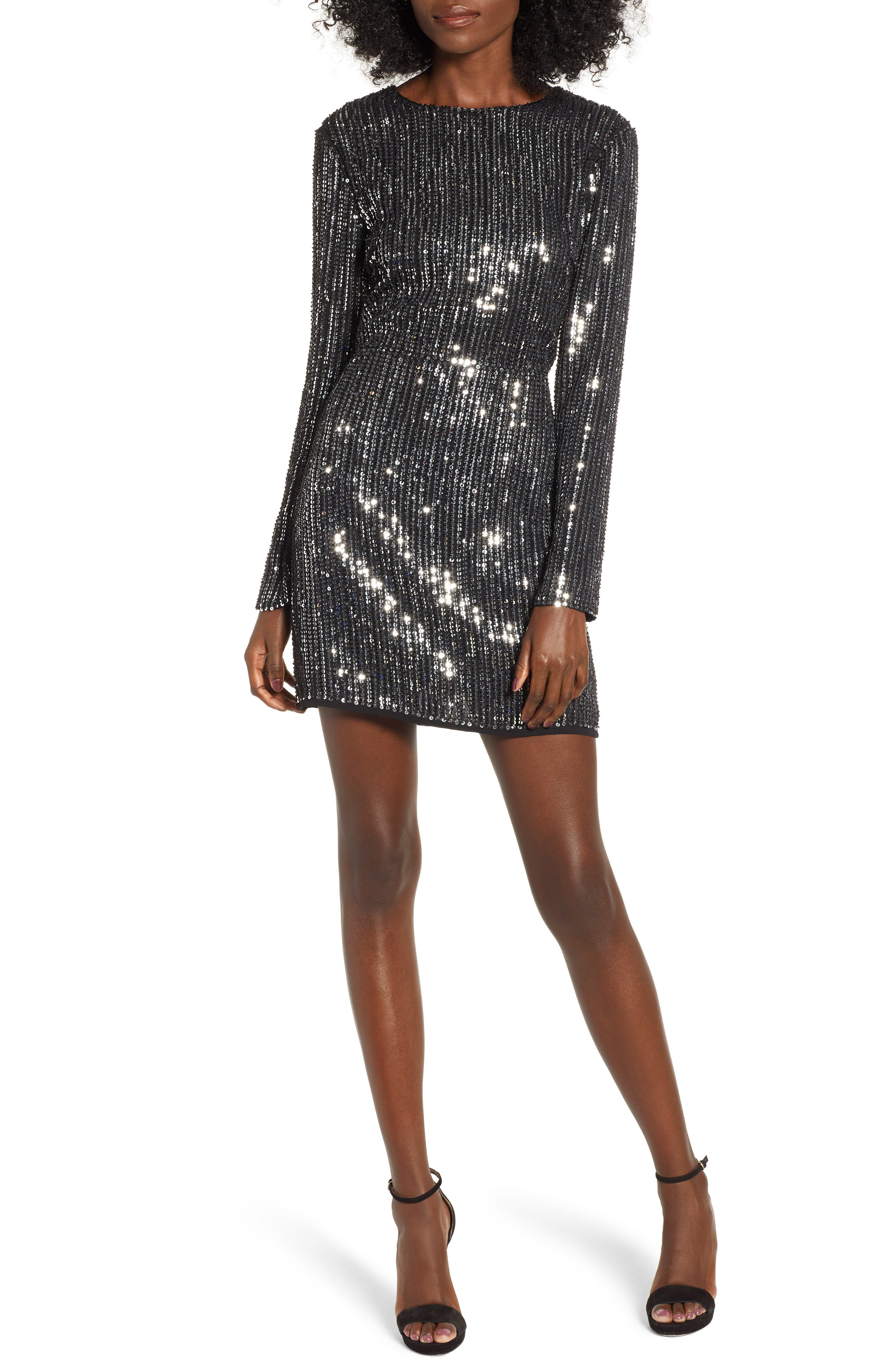 Open Back Sequin Dress,                             Main thumbnail 1, color,                             SILVER