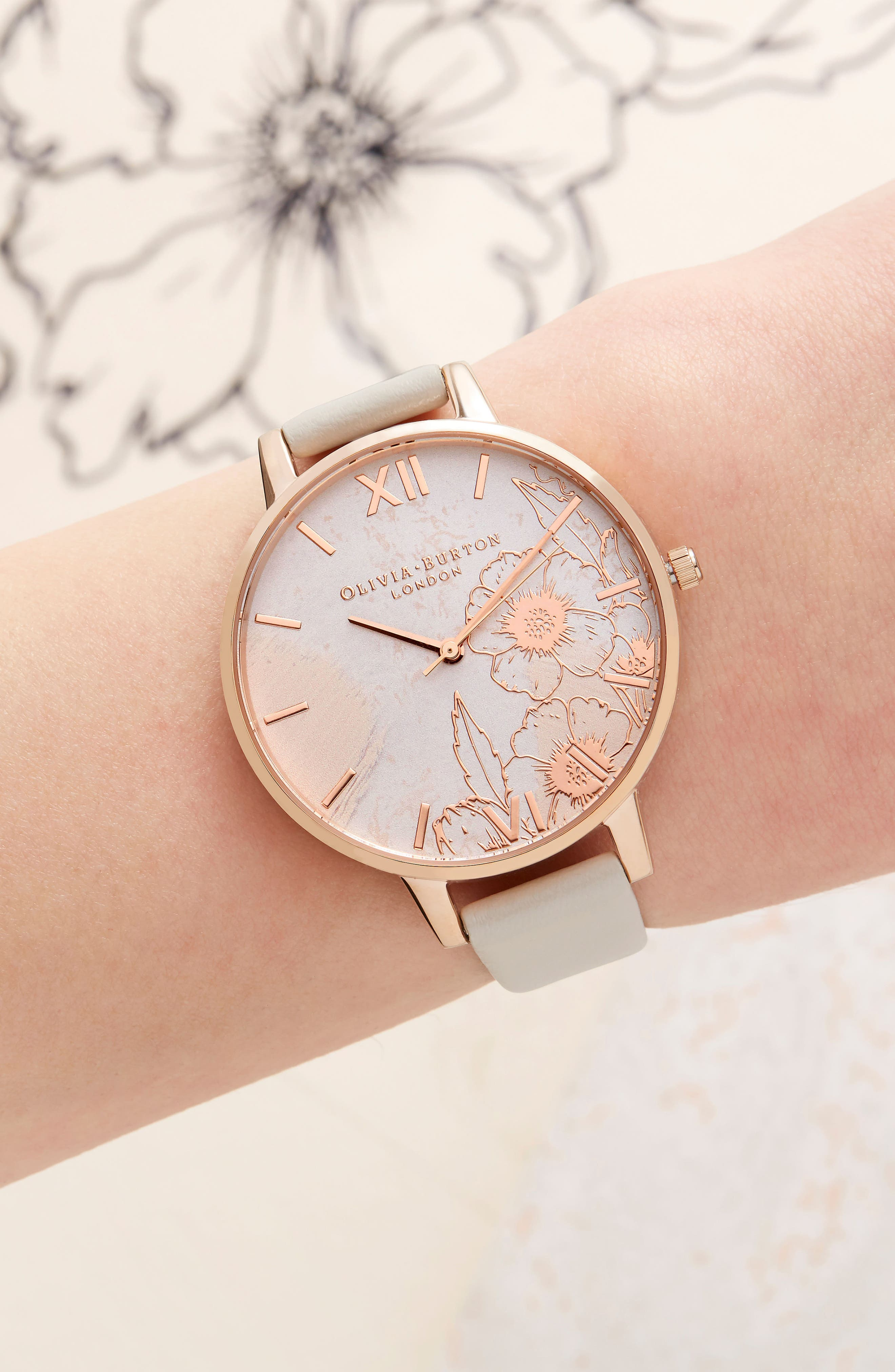 Abstract Floral Faux Leather Strap Watch, 38mm,                             Alternate thumbnail 5, color,                             NUDE/ FLORAL/ ROSE GOLD