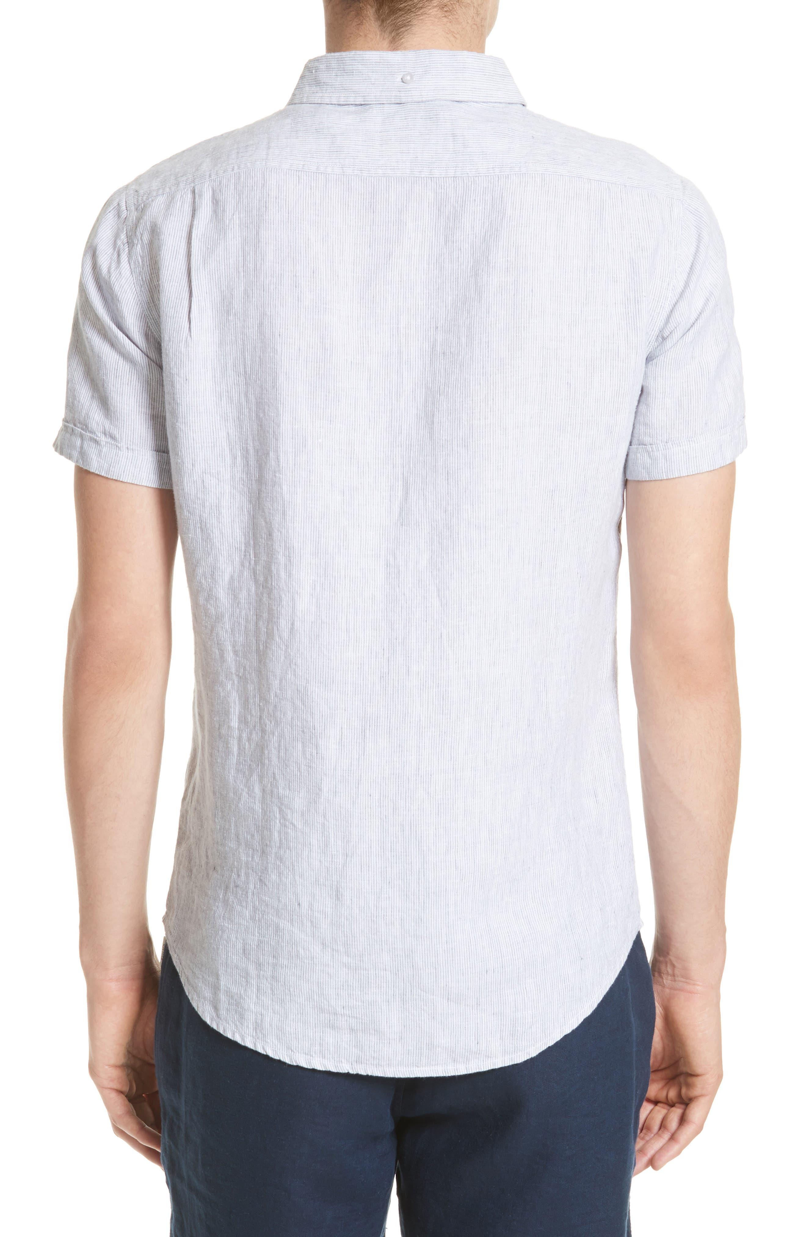 Trim Fit Microstripe Linen Shirt,                             Alternate thumbnail 3, color,                             100