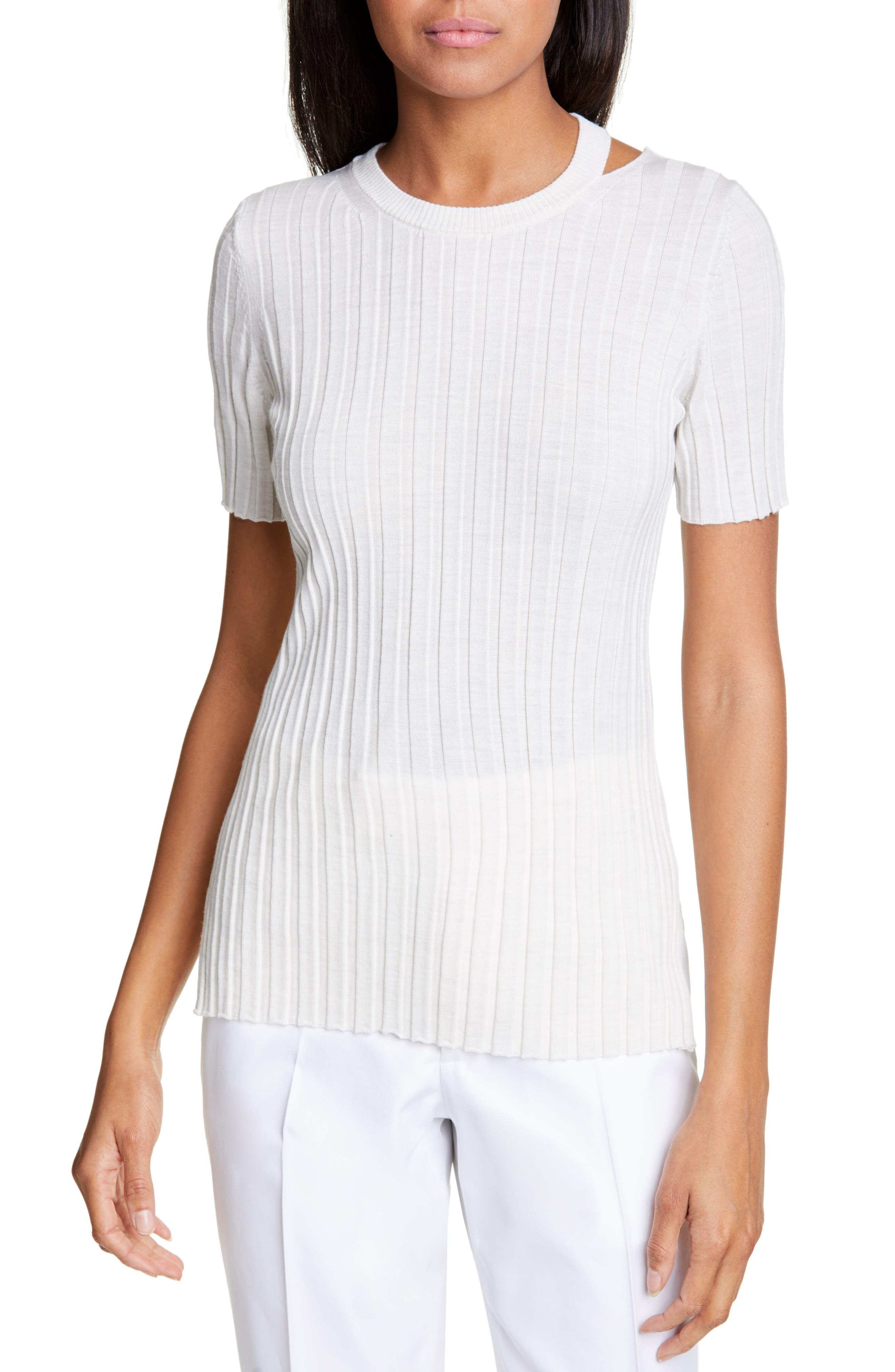 Helmut Lang Slash Neck Ribbed Wool Sweater, Ivory