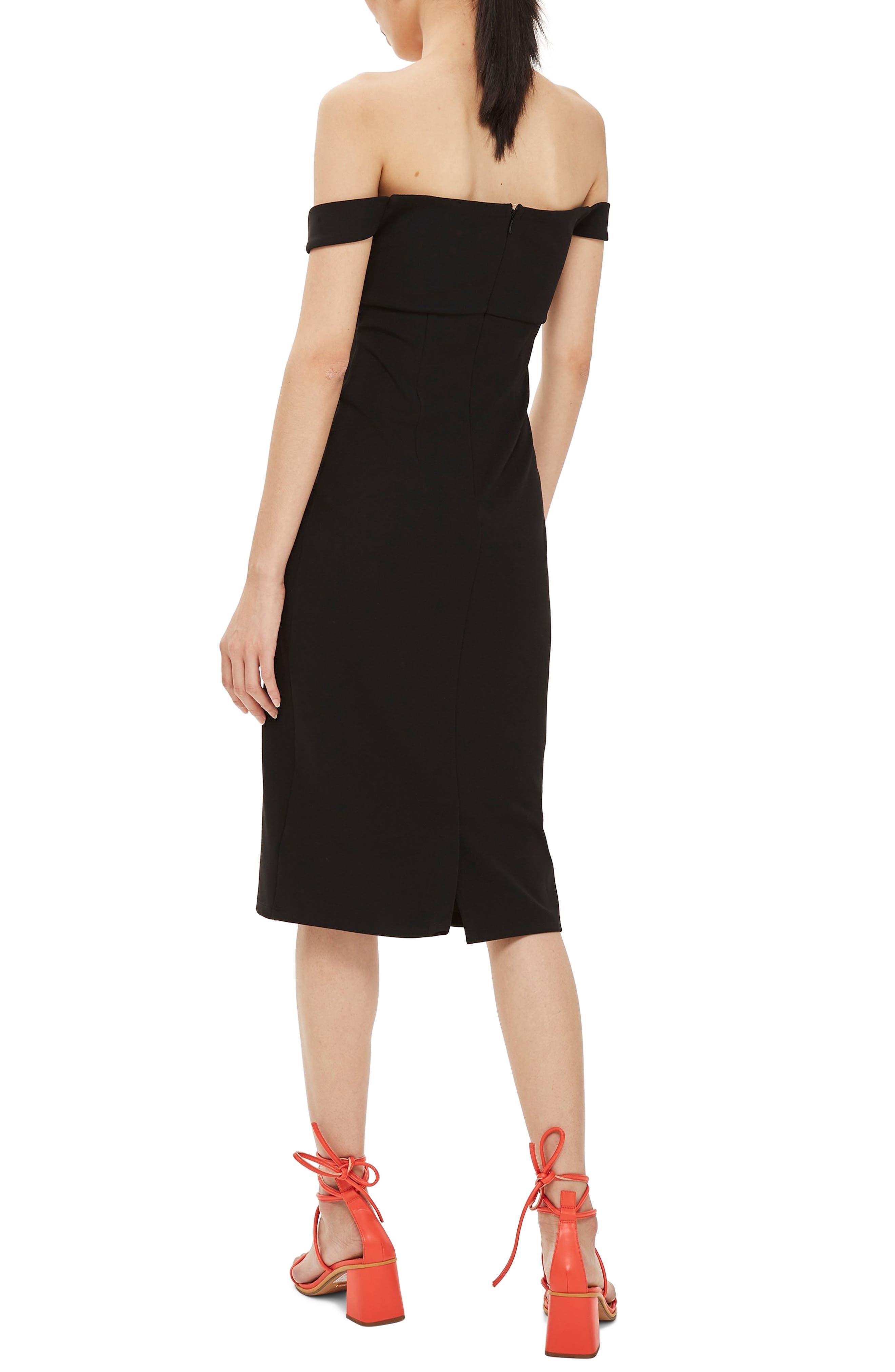 Twist Front Bardot Dress,                             Alternate thumbnail 2, color,                             BLACK