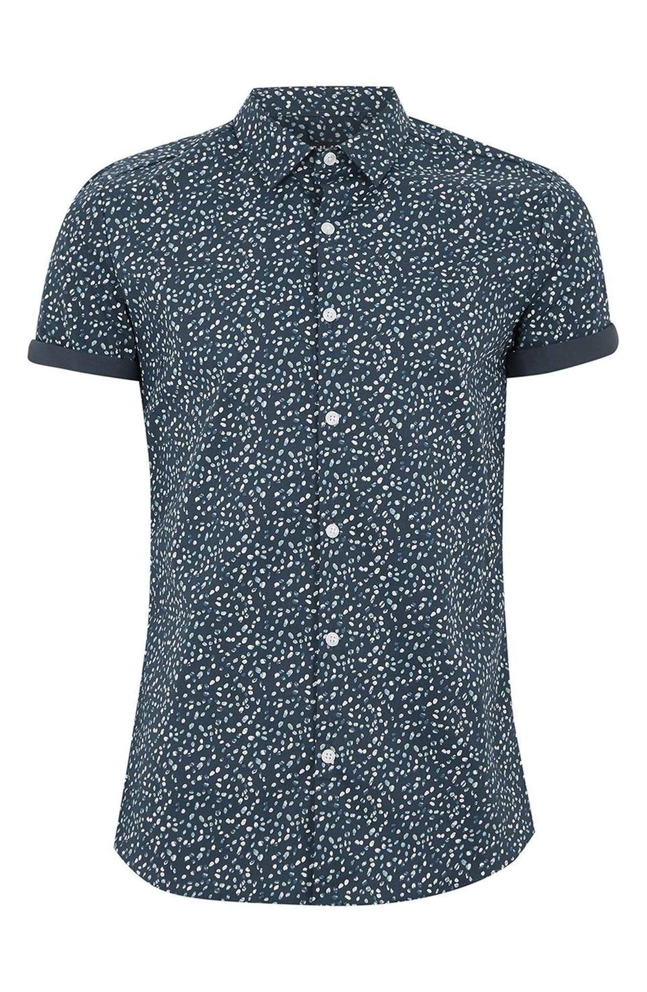 Muscle Fit Marble Print Shirt,                             Alternate thumbnail 4, color,                             401