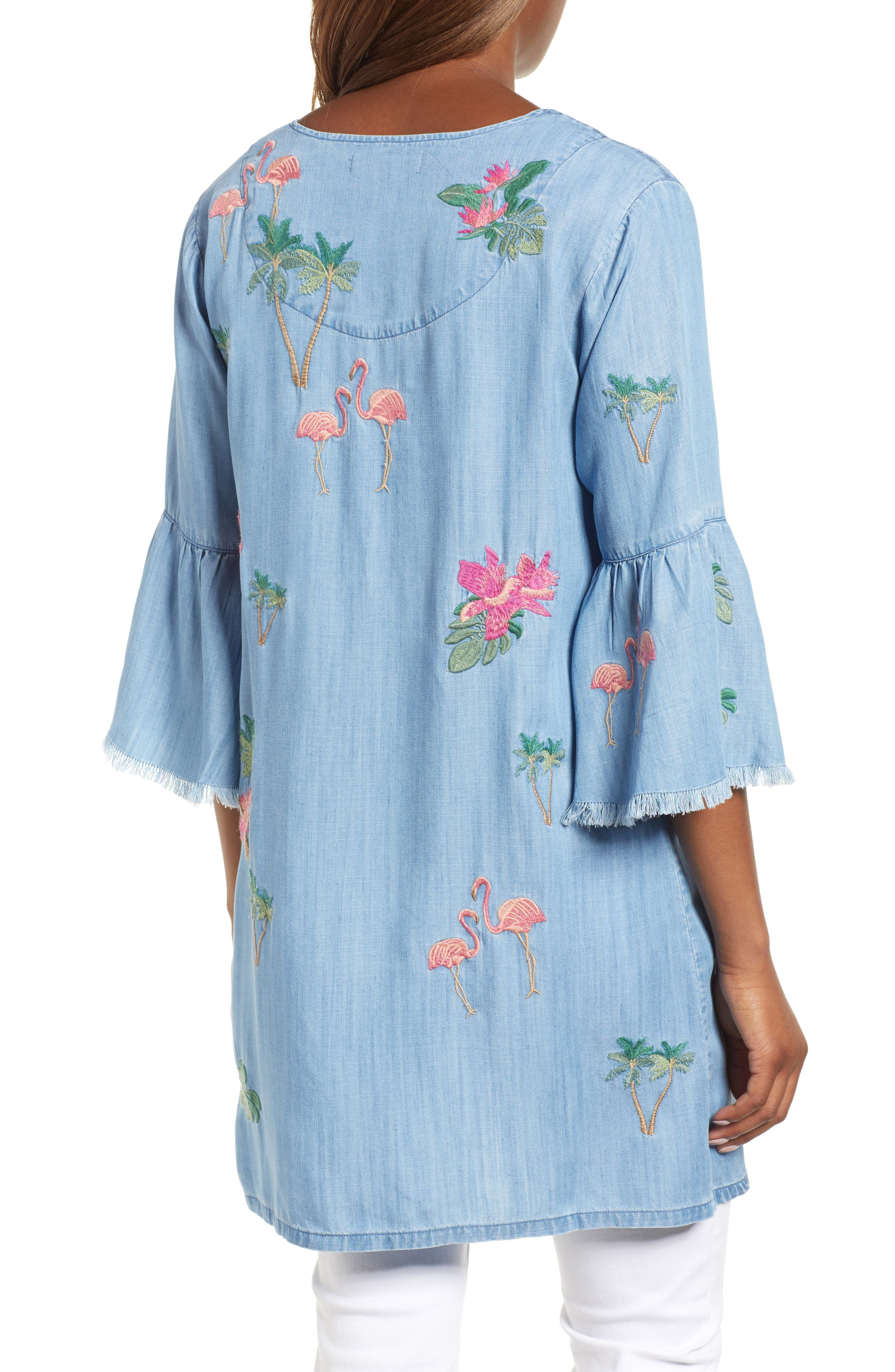 Flamingo Embroidered Chambray Kimono,                             Alternate thumbnail 2, color,                             421
