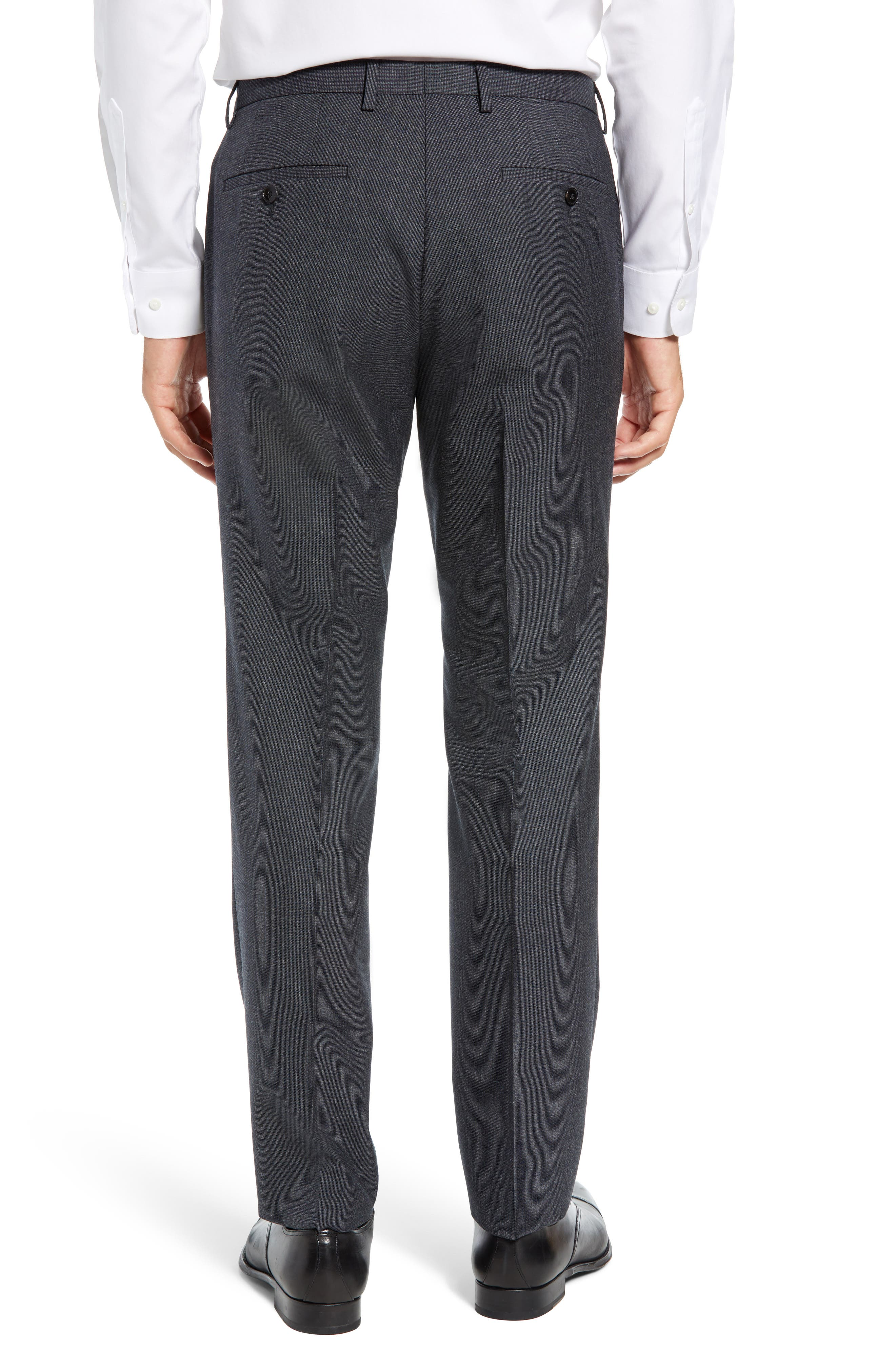 Leenon Flat Front Solid Wool Trousers,                             Alternate thumbnail 2, color,                             OPEN BLUE