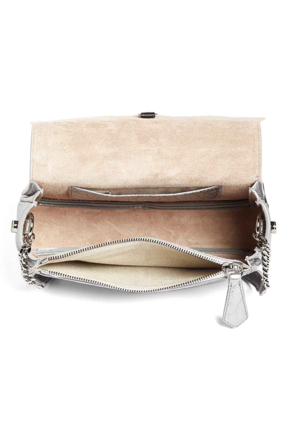 Arrow Metallic Grained Leather Shoulder Bag,                             Alternate thumbnail 4, color,                             045