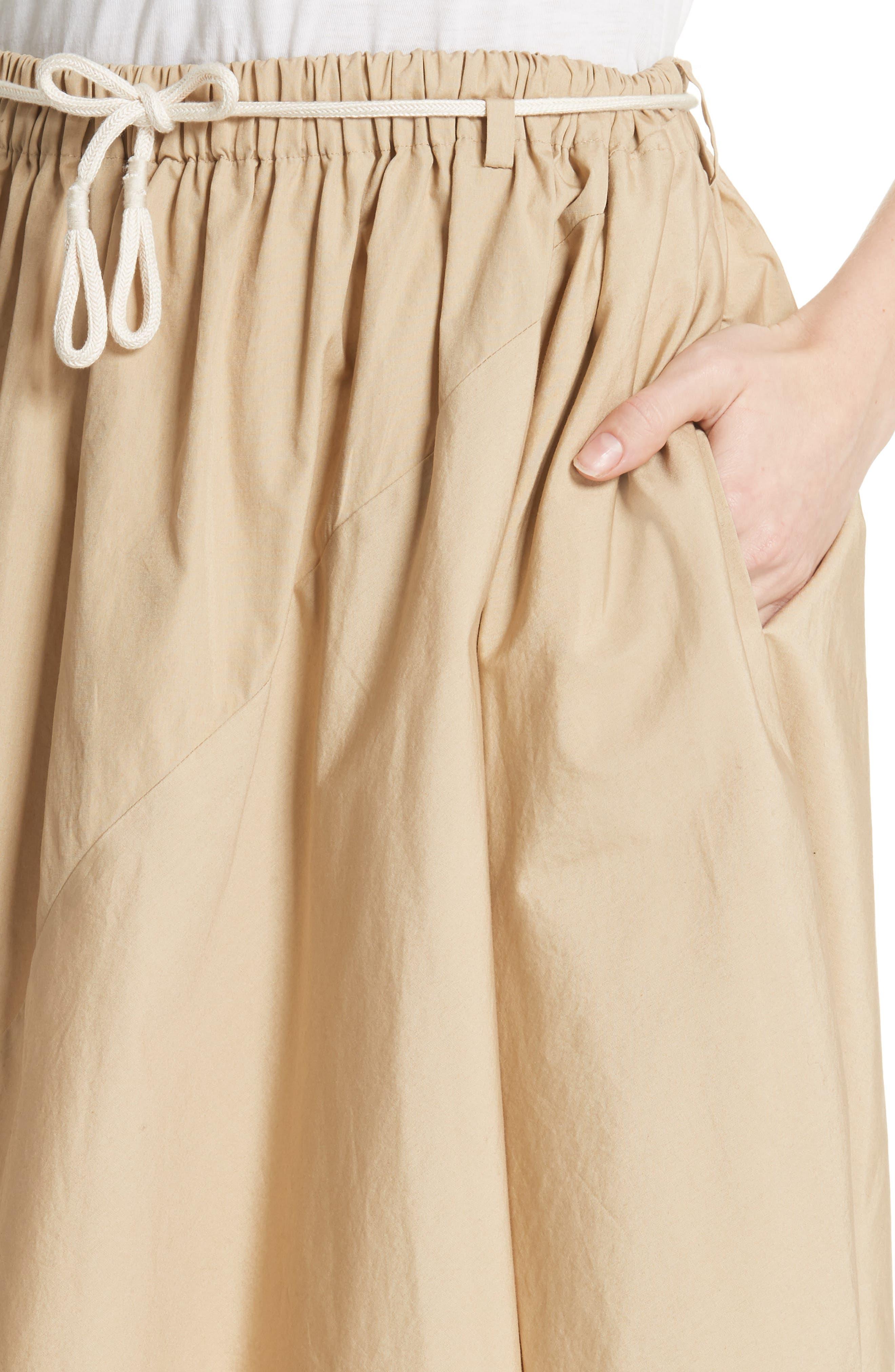 Asymmetrical Drawstring Cotton Skirt,                             Alternate thumbnail 4, color,                             KHAKI