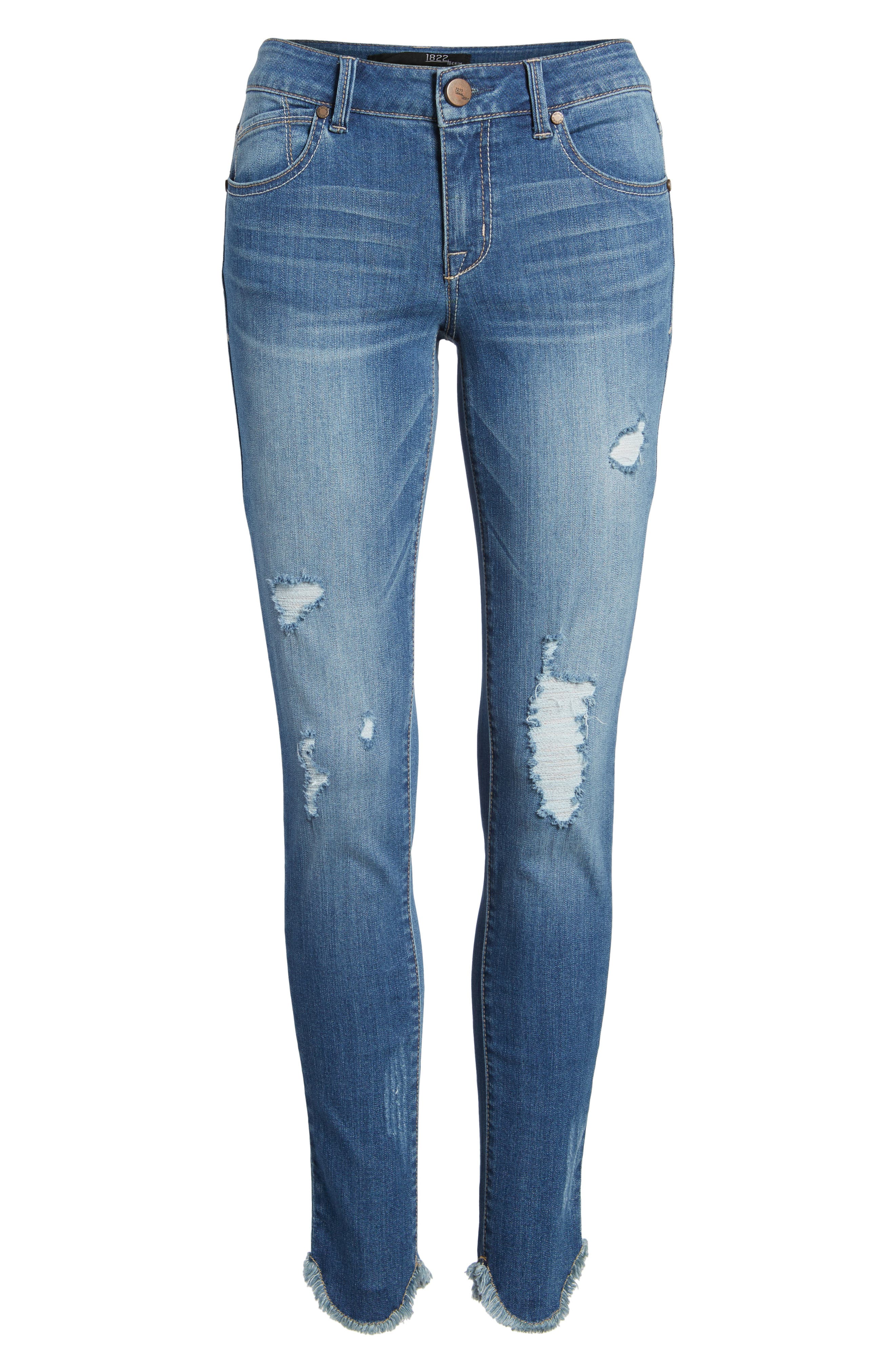 Raw Edge Skinny Jeans,                             Alternate thumbnail 7, color,                             426