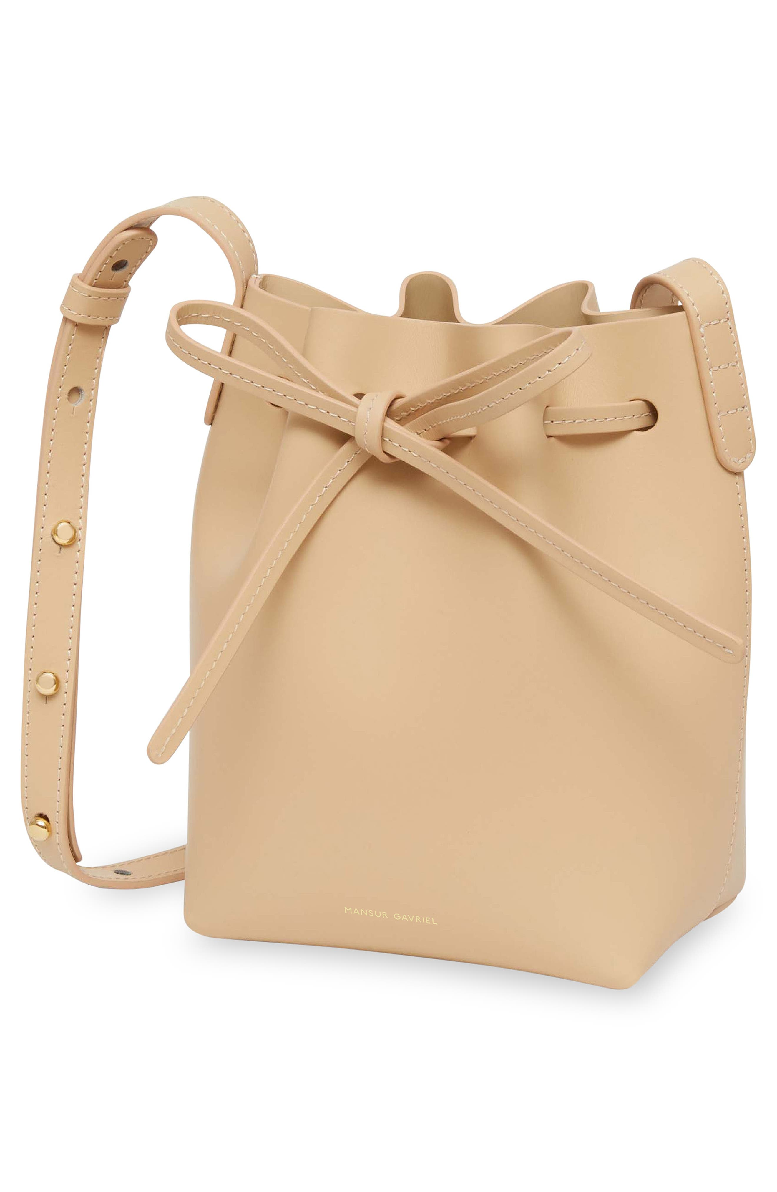 Mini Mini Leather Bucket Bag,                             Alternate thumbnail 3, color,                             NATURAL