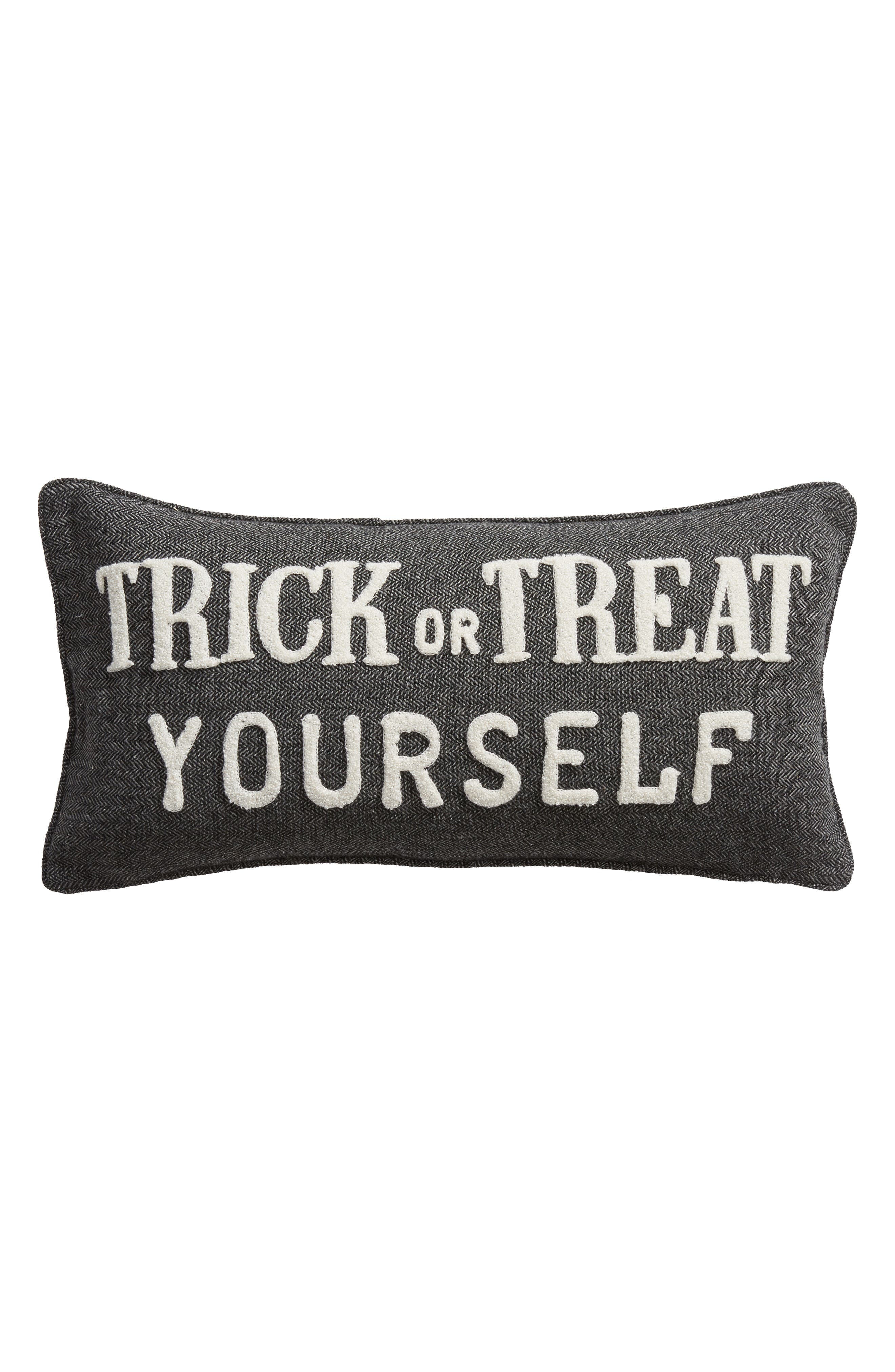 Trick or Treat Yourself Accent Pillow,                             Main thumbnail 1, color,                             CHARCOAL