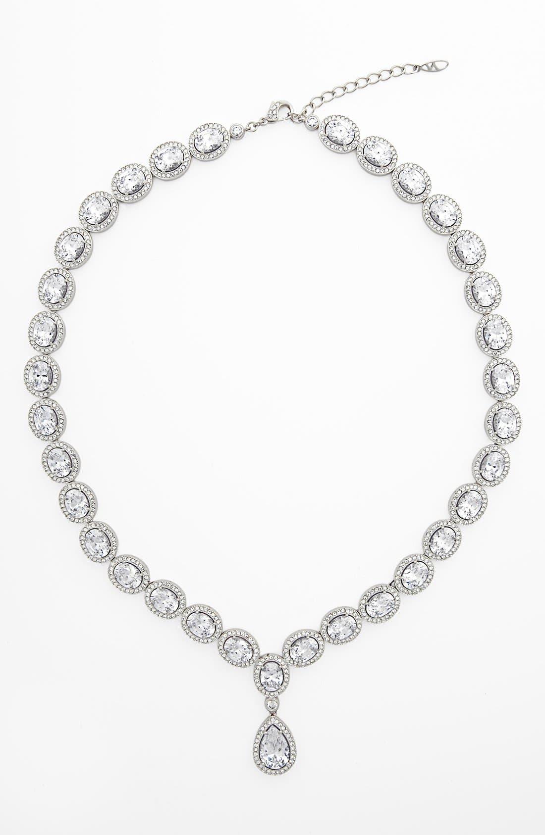 Cubic Zirconia & Crystal Pear Drop Necklace, Main, color, 040