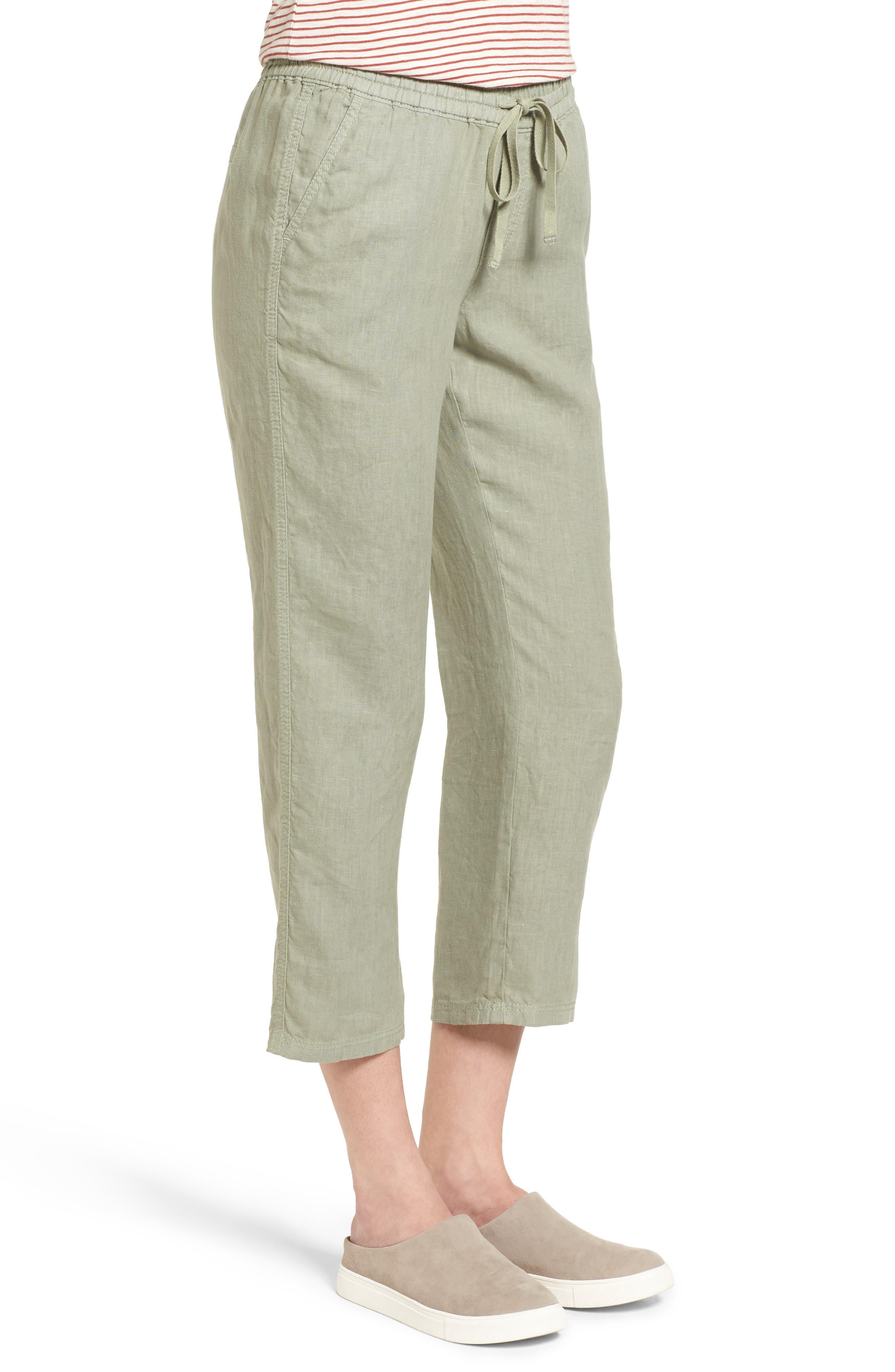 Linen Crop Pants,                             Alternate thumbnail 19, color,