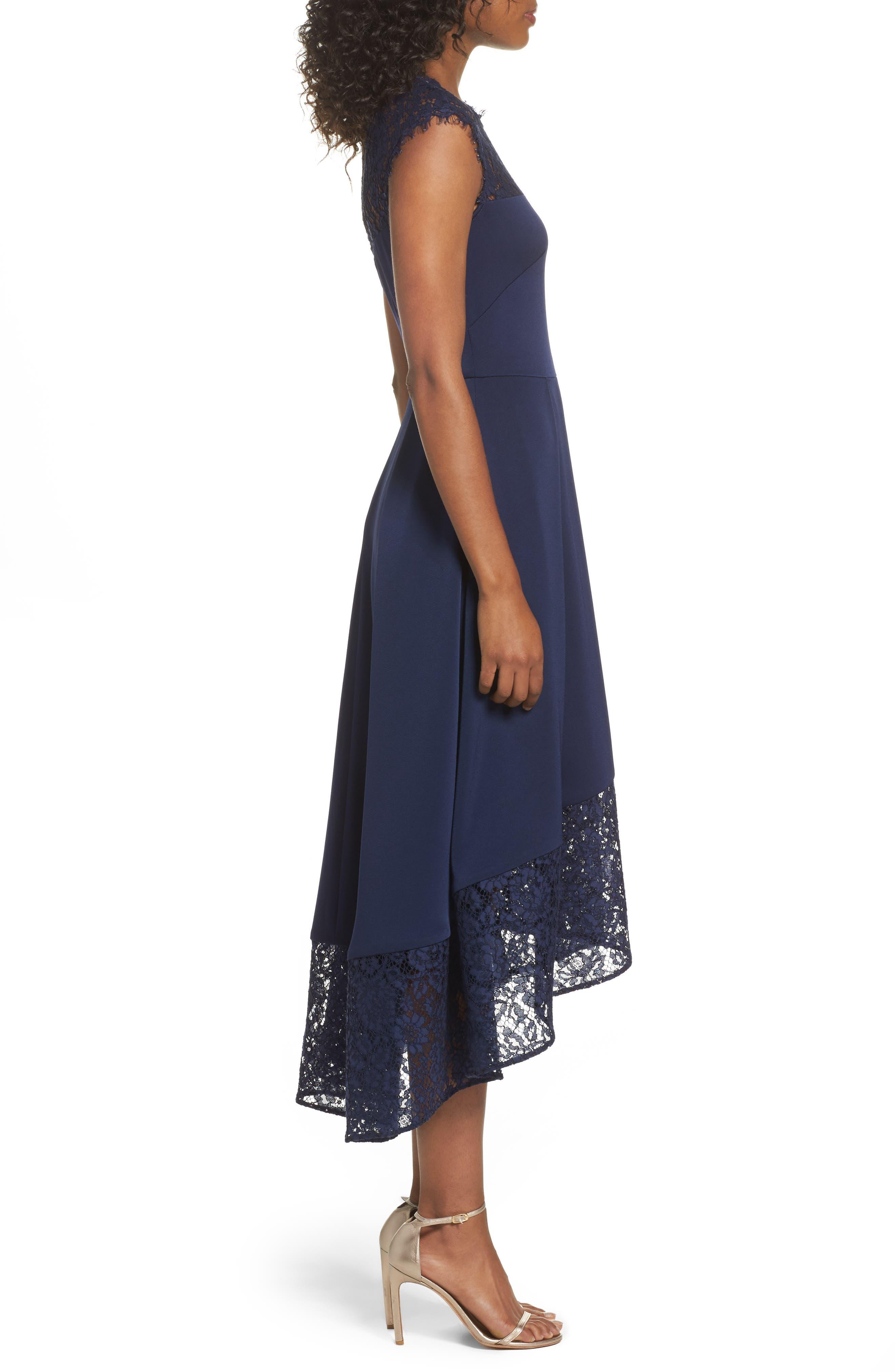 Allachie Lace & Crepe High/Low Midi Dress,                             Alternate thumbnail 3, color,                             414