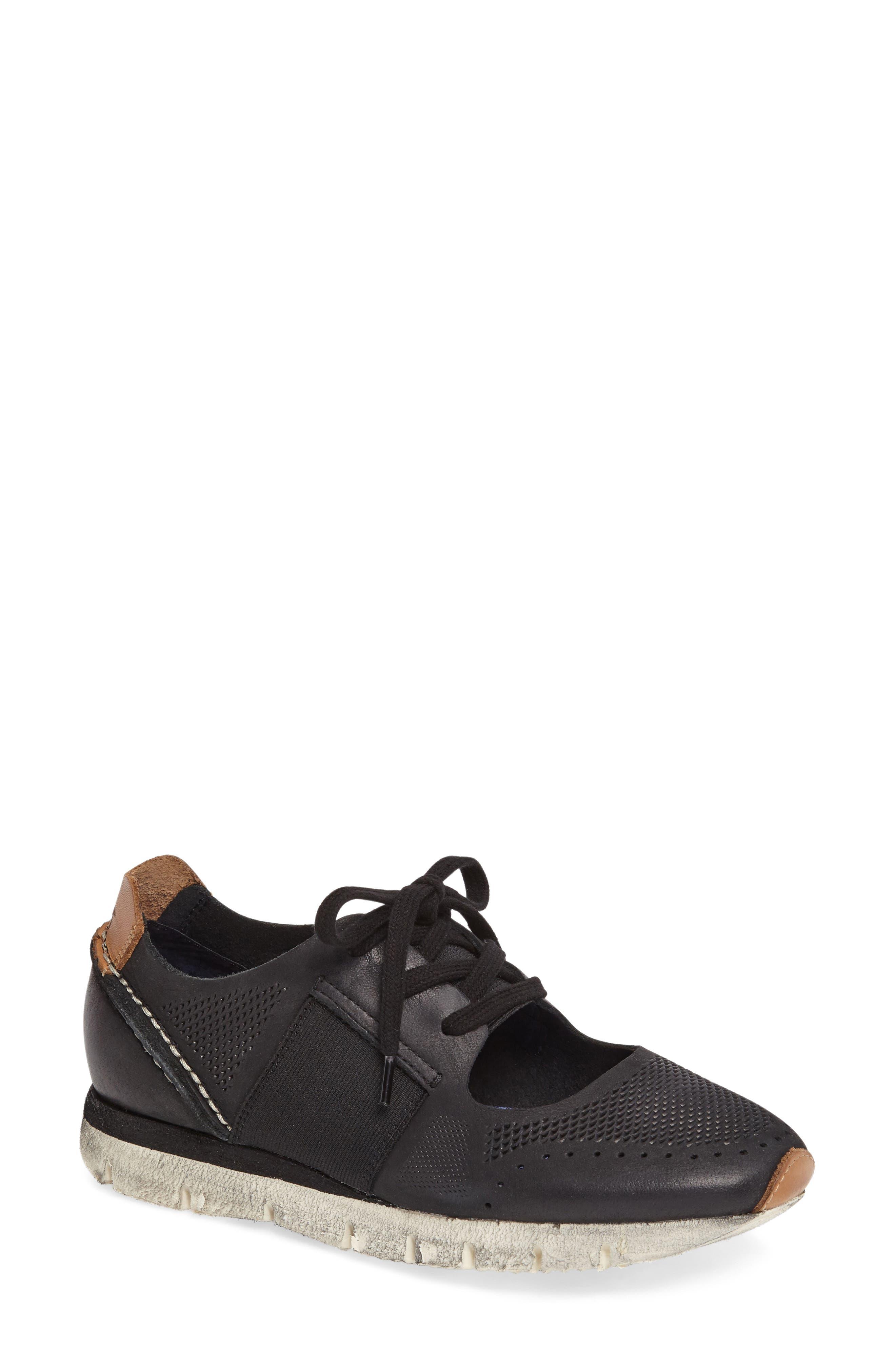 Star Dust Cutout Sneaker,                             Main thumbnail 1, color,                             BLACK LEATHER