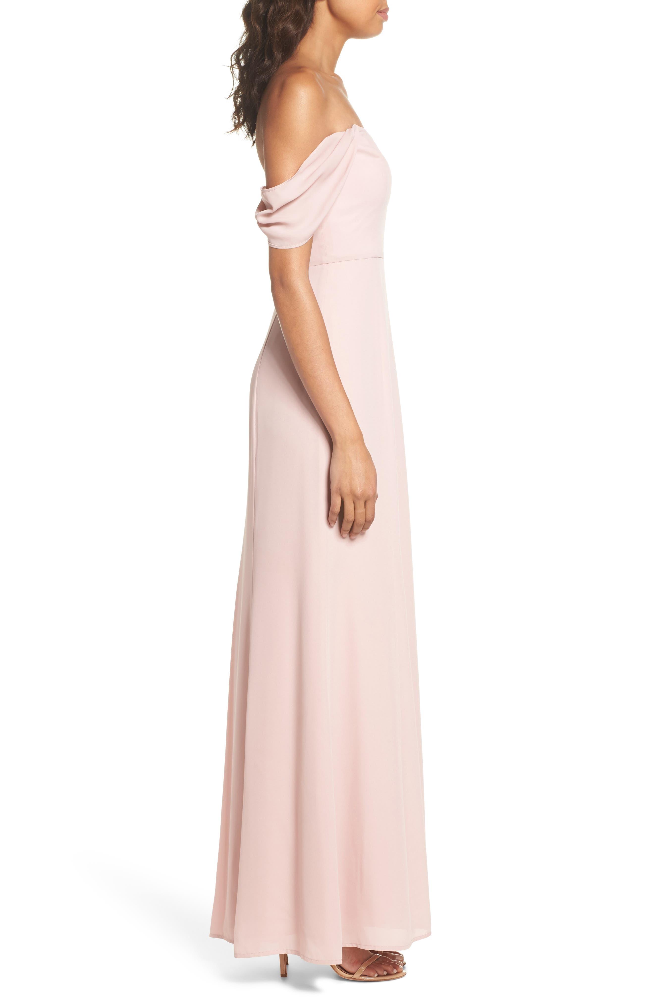 Rachel Off the Shoulder Gored Maxi Dress,                             Alternate thumbnail 9, color,