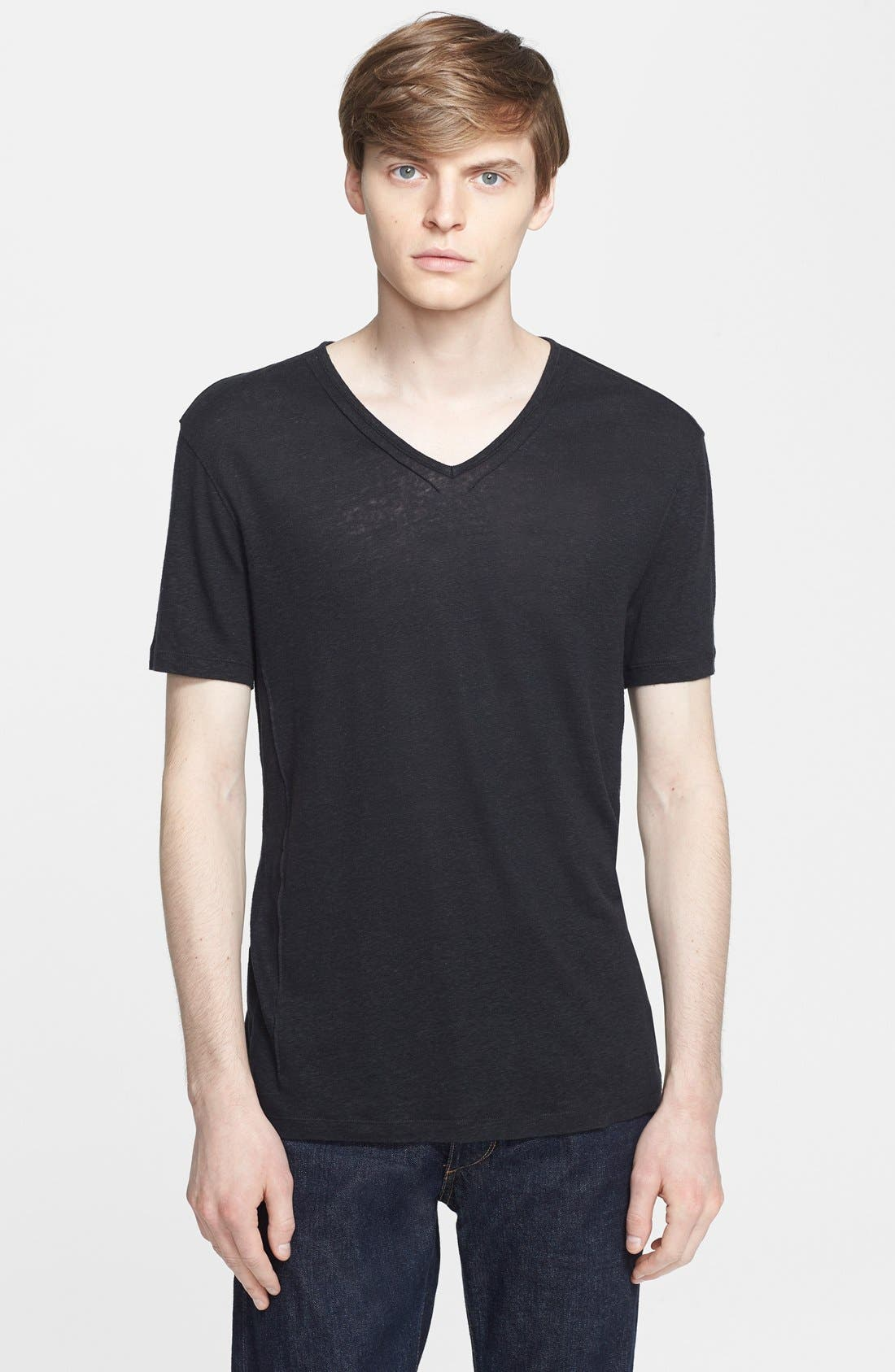 Pintuck V-Neck T-Shirt,                         Main,                         color, 001