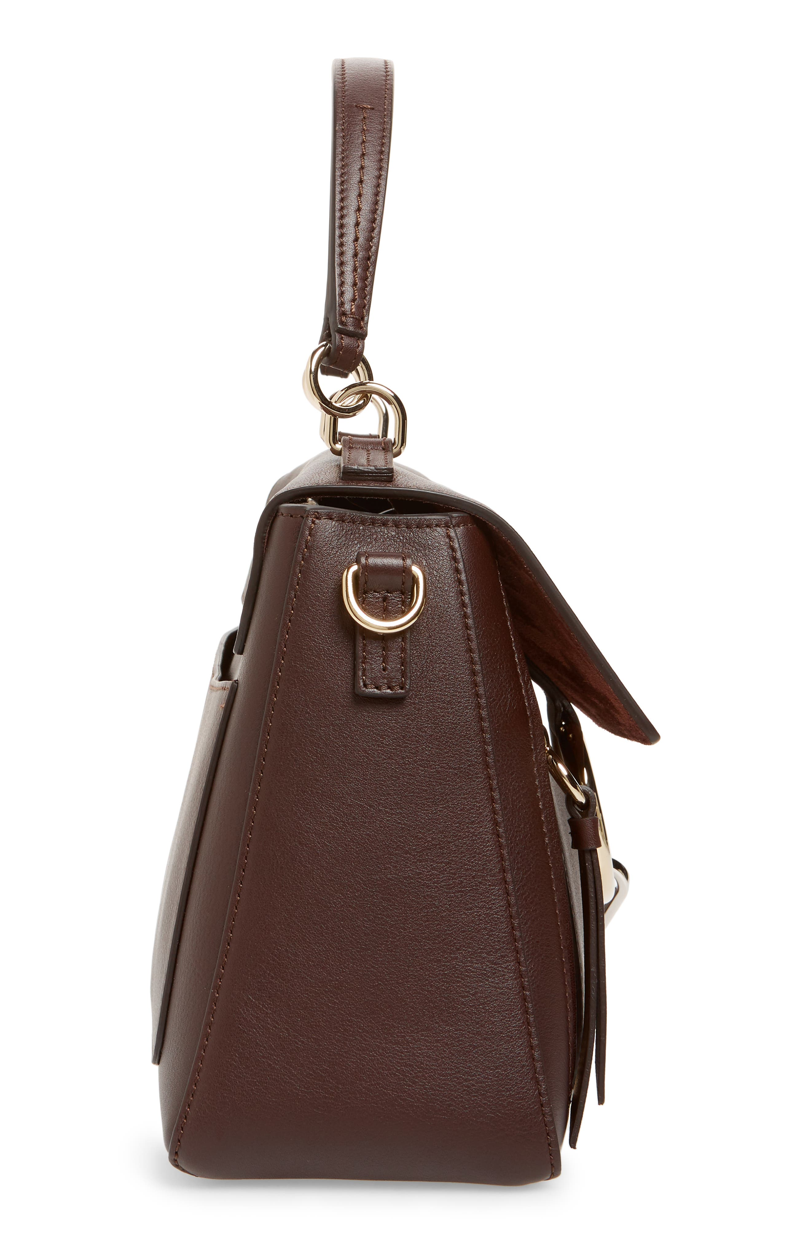 Small Faye Day Leather Shoulder Bag,                             Alternate thumbnail 5, color,                             CARBON BROWN