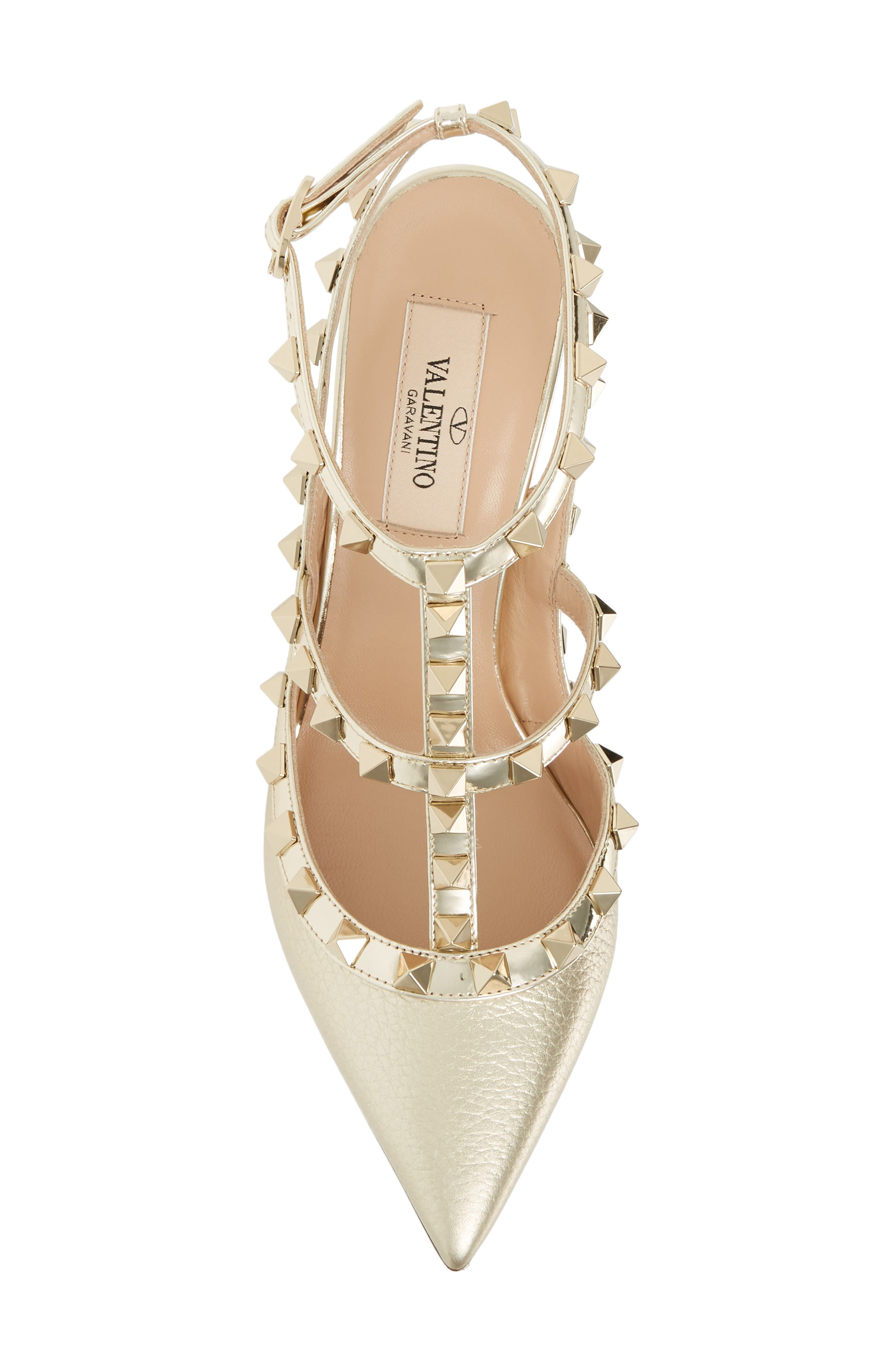 Rockstud T-Strap Pump,                             Alternate thumbnail 5, color,                             PLATINO