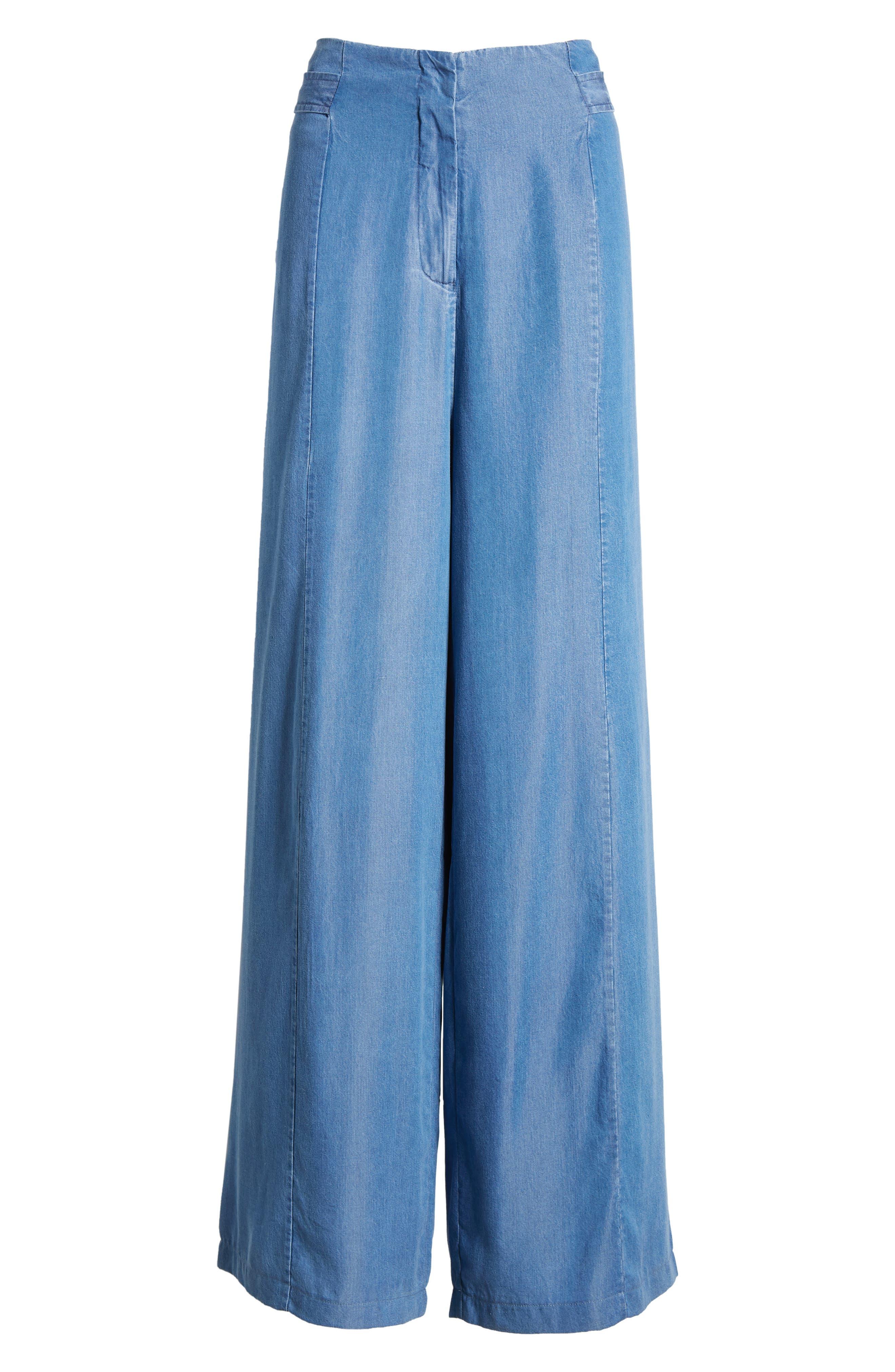 Bishop + Young O-Ring Wide Leg Denim Pants,                             Alternate thumbnail 7, color,                             CHAMBRAY