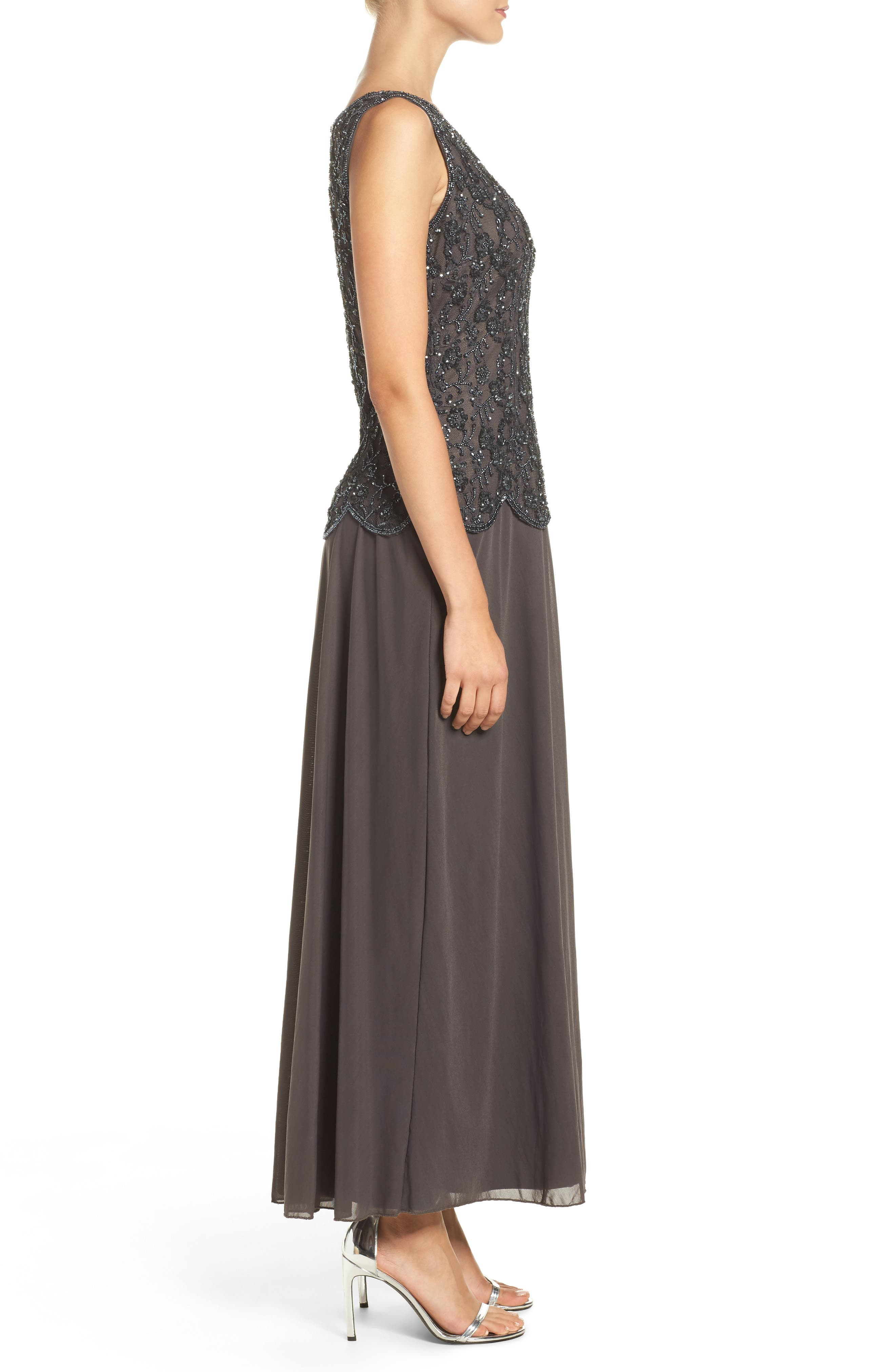 Embellished Mesh Gown,                             Alternate thumbnail 4, color,                             020