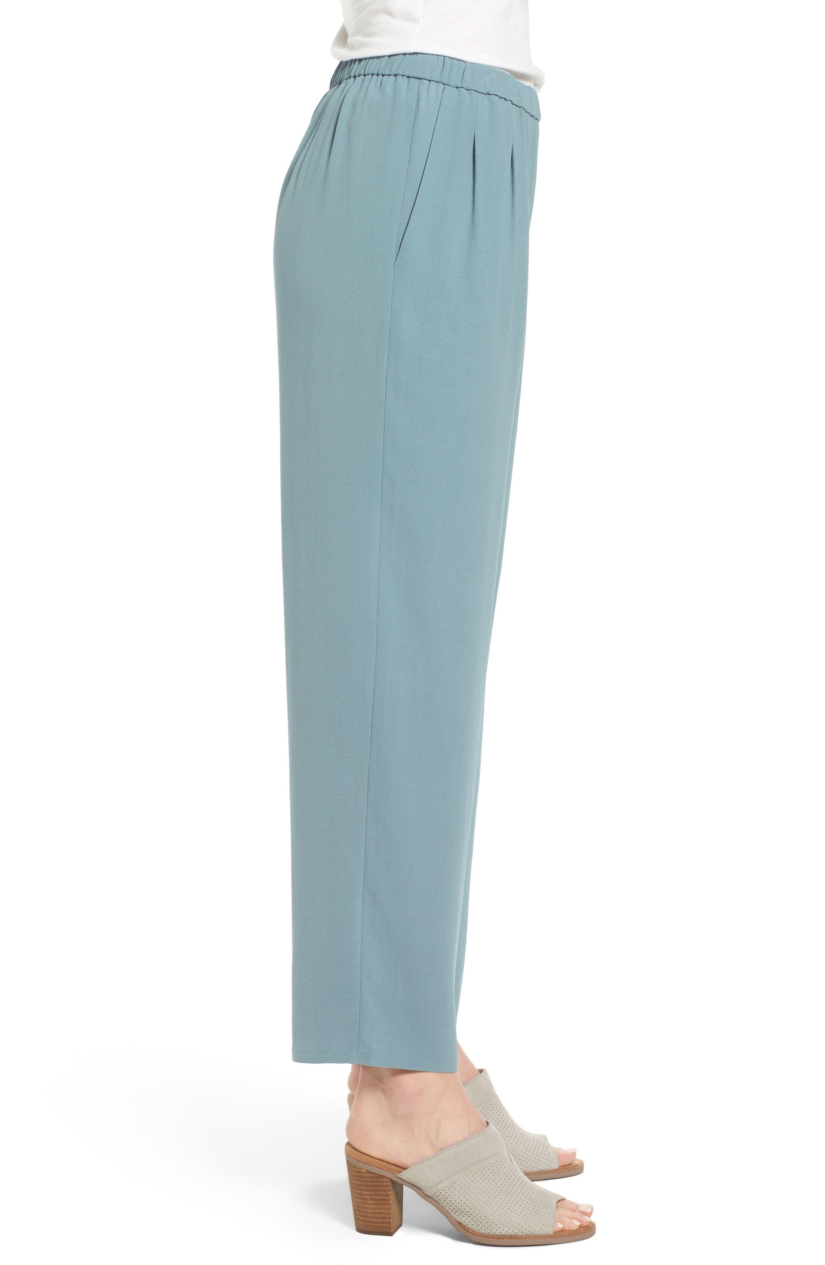 Silk Georgette Crepe Straight Ankle Pants,                             Alternate thumbnail 17, color,