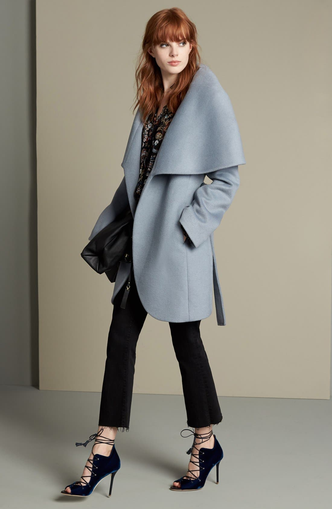 T Tahari Wool Blend Belted Wrap Coat,                             Alternate thumbnail 28, color,