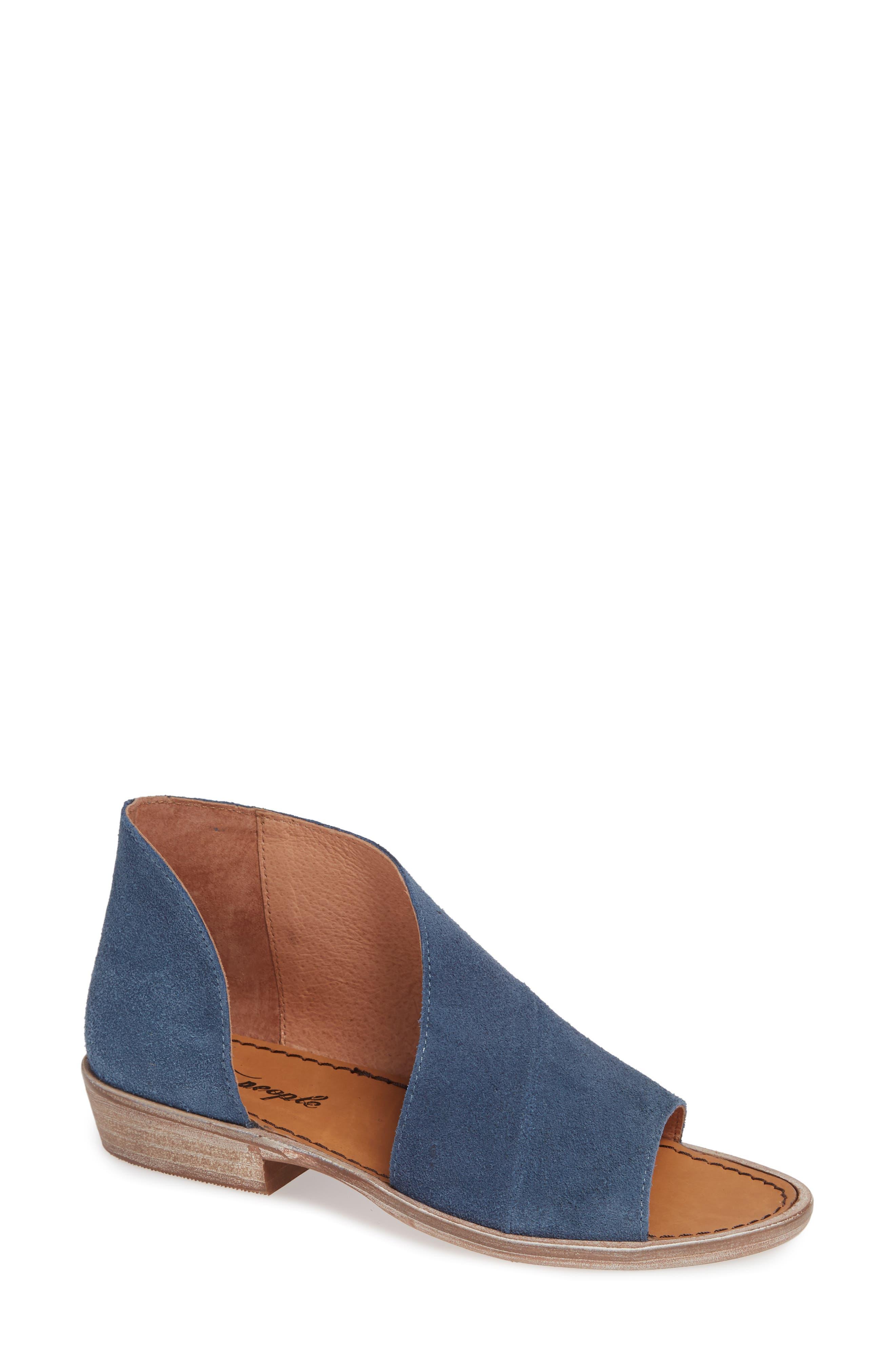 'Mont Blanc' Asymmetrical Sandal,                             Main thumbnail 1, color,                             BLUE SUEDE