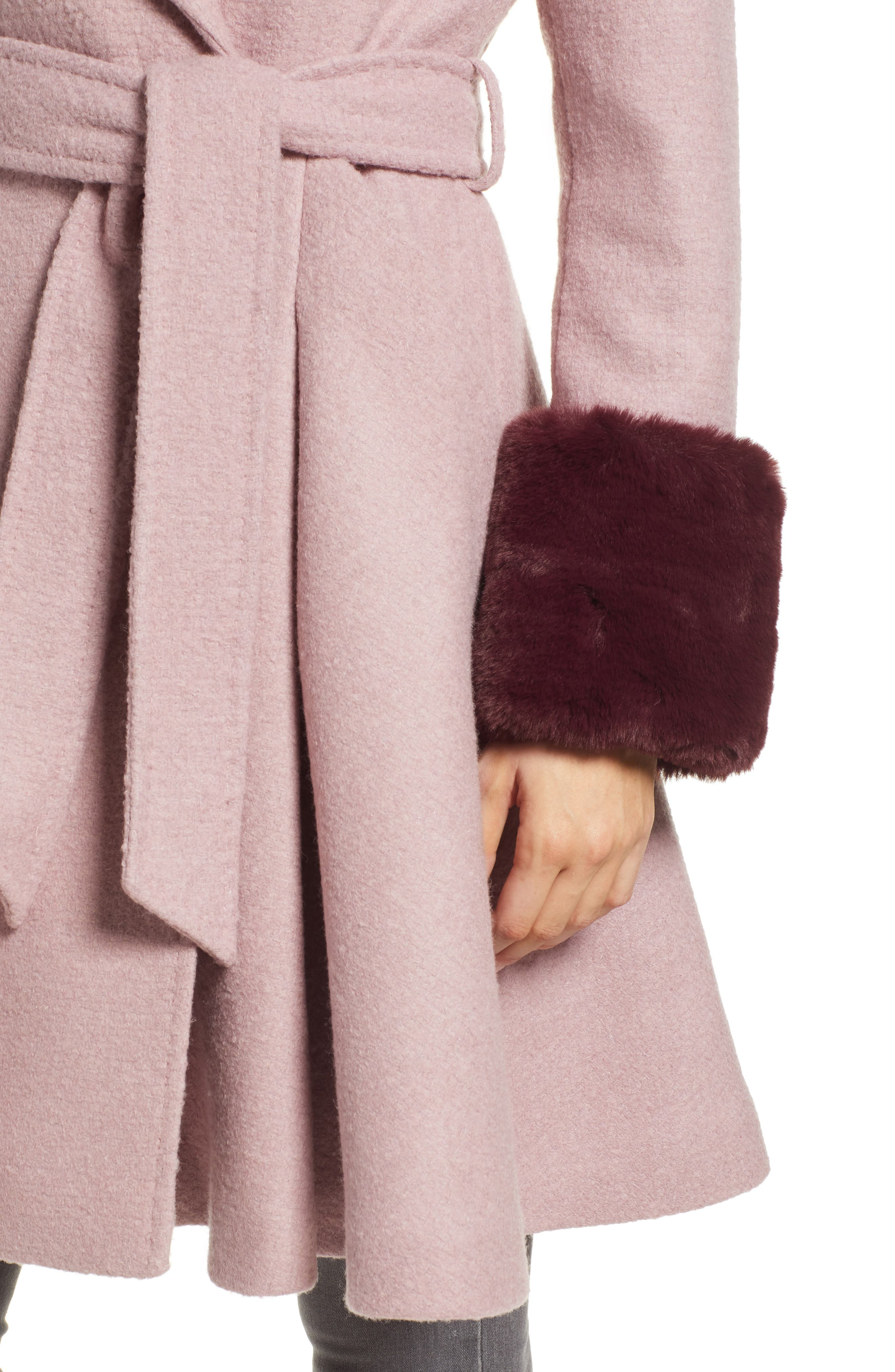 Faux Fur Cuff Skirted Coat,                             Alternate thumbnail 4, color,                             MID PINK