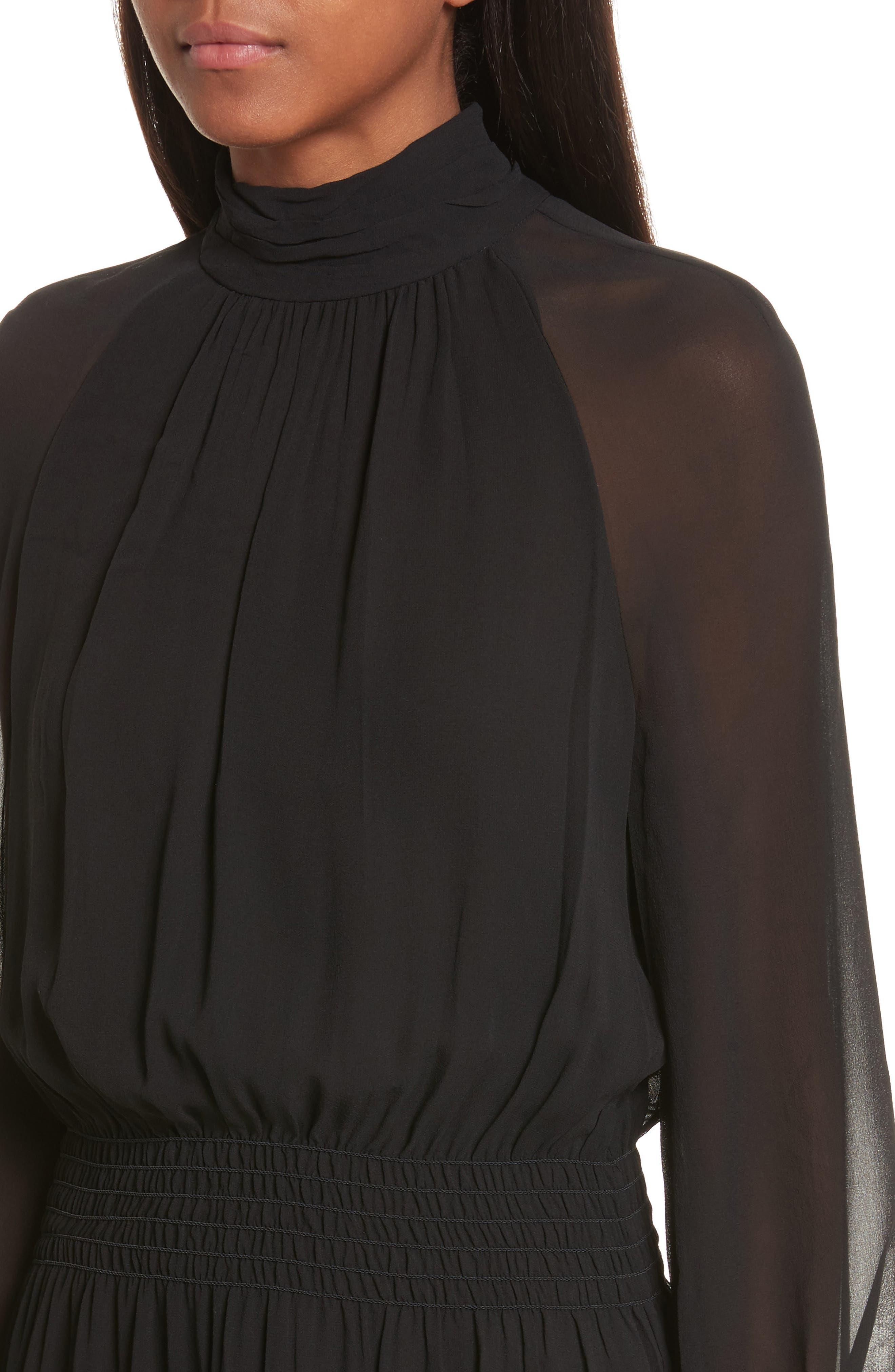 Collette Silk Midi Dress,                             Alternate thumbnail 4, color,                             001